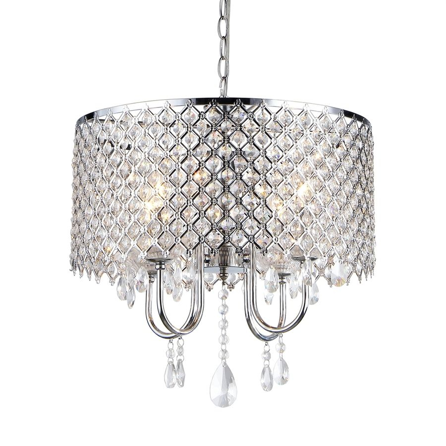 Lowes $130.77 Warehouse Of Tiffany 18-In 4-Light Silver for Aldgate 4-Light Crystal Chandeliers (Image 21 of 30)