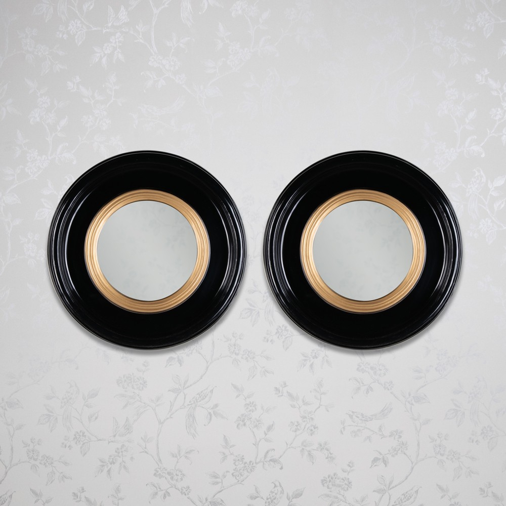 Luna Set Of 2 Accent Mirror Round Black Gold 42Cm For Luna Accent Mirrors (View 17 of 30)