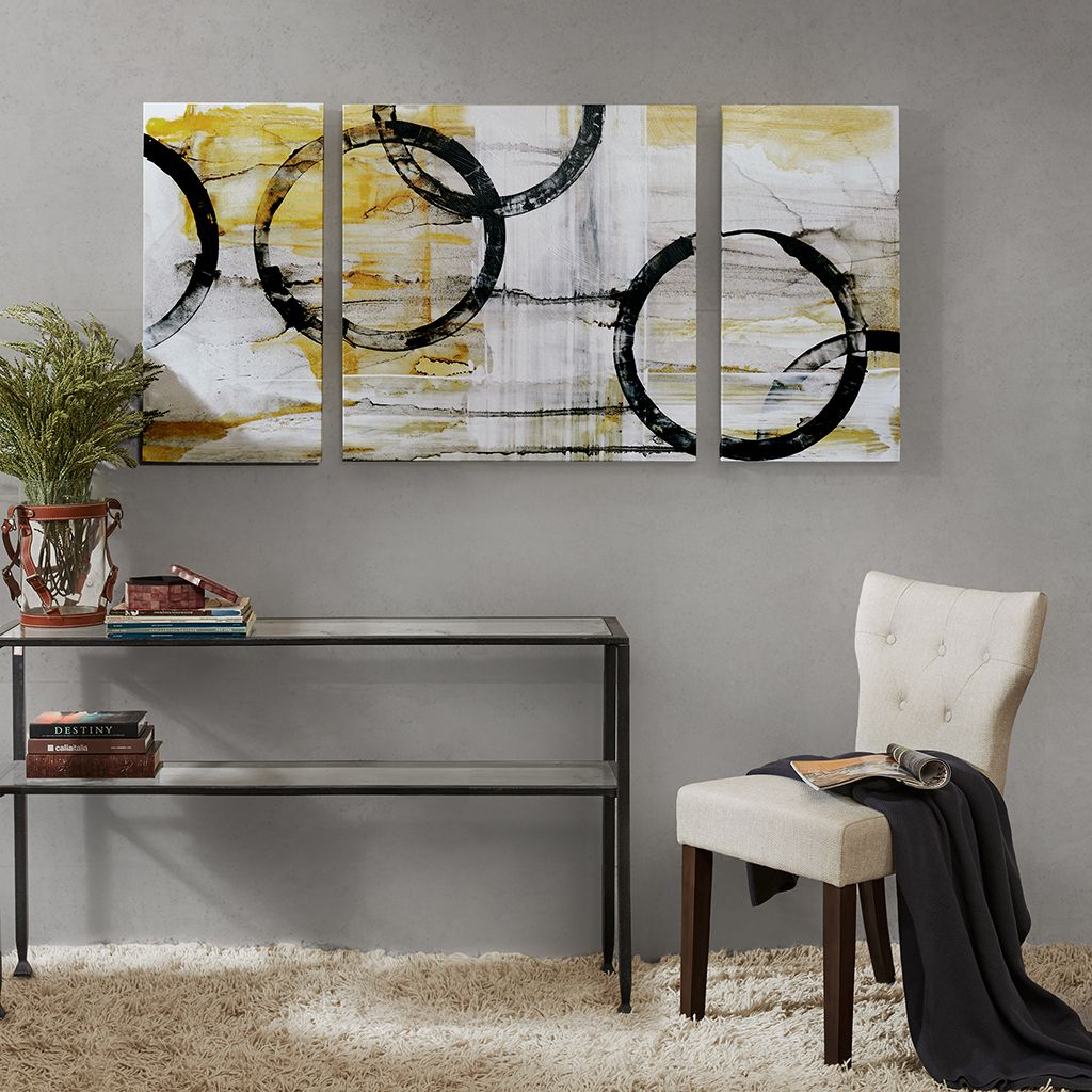 Lunar Glow Gel Coated Canvas Set Of 3 | Livingroom Ideas for 3 Piece Wall Decor Sets by Wrought Studio (Image 23 of 30)