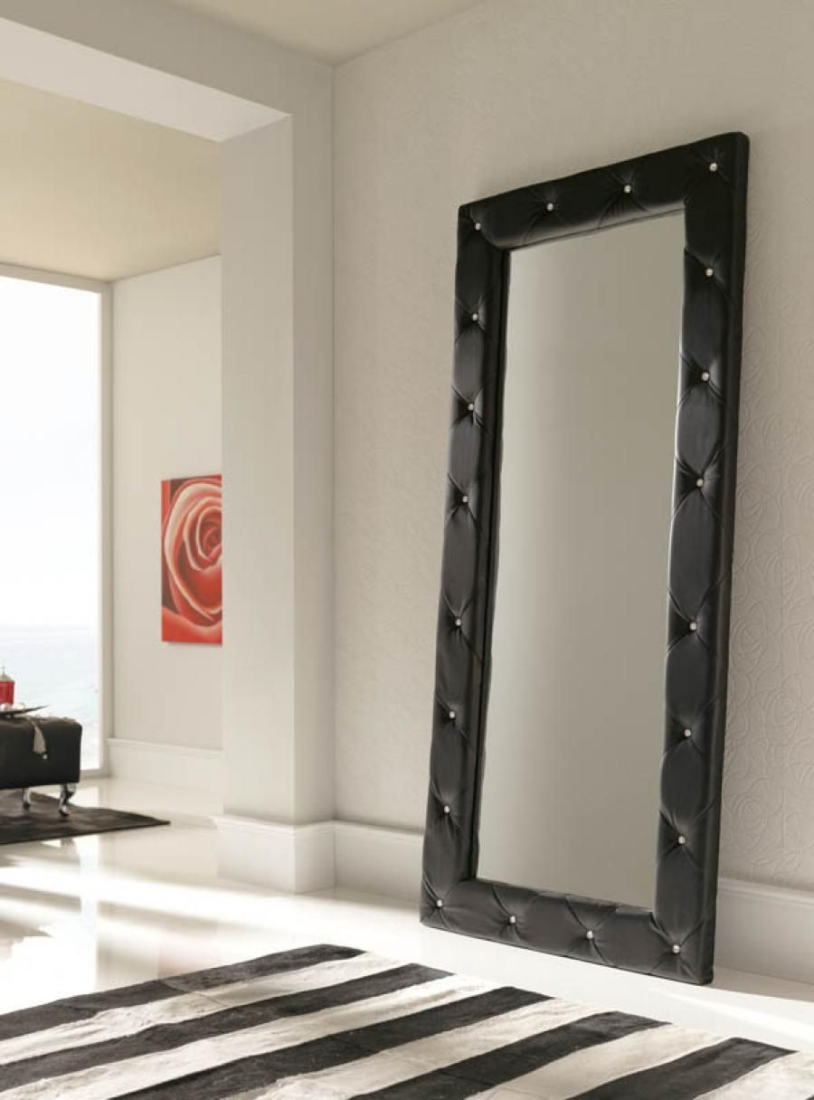 Luxurious Quilted 2 Metre Tall Black Wall Mirror - Full in Modern & Contemporary Full Length Mirrors (Image 12 of 30)