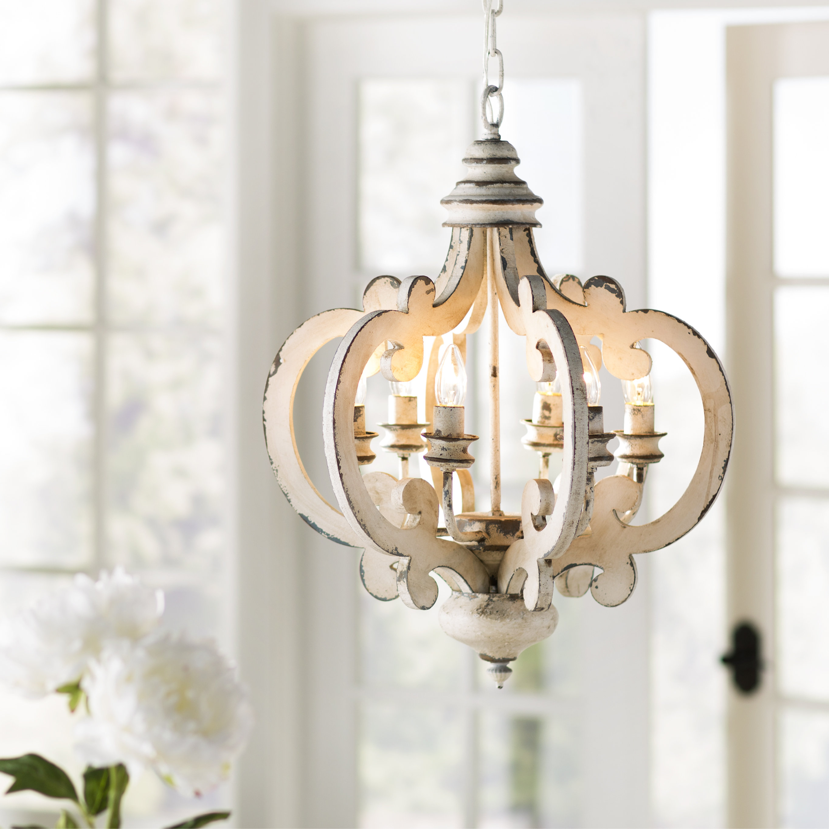 Lynn 6 Light Geometric Chandelier With Armande 4 Light Lantern Drum Pendants (View 19 of 30)