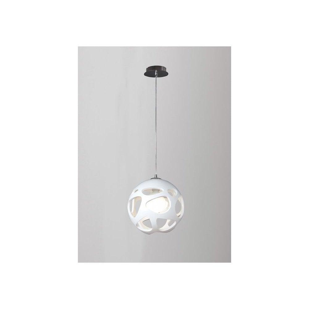 M5144 Organica 1 Light Globe Pendant White And Chrome In 1 Light Globe Pendants (View 21 of 30)