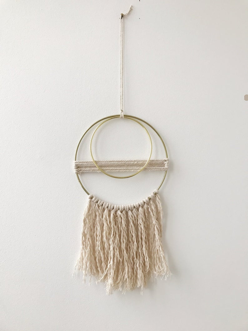 Macrame Wall Hanging, Boho Wall Décor, Gold Ring, Wall Art, Natural Cotton Cord, Frayed Tassels, Double Ring, Abstract, Minimal Design Within Rings Wall Decor (View 12 of 30)