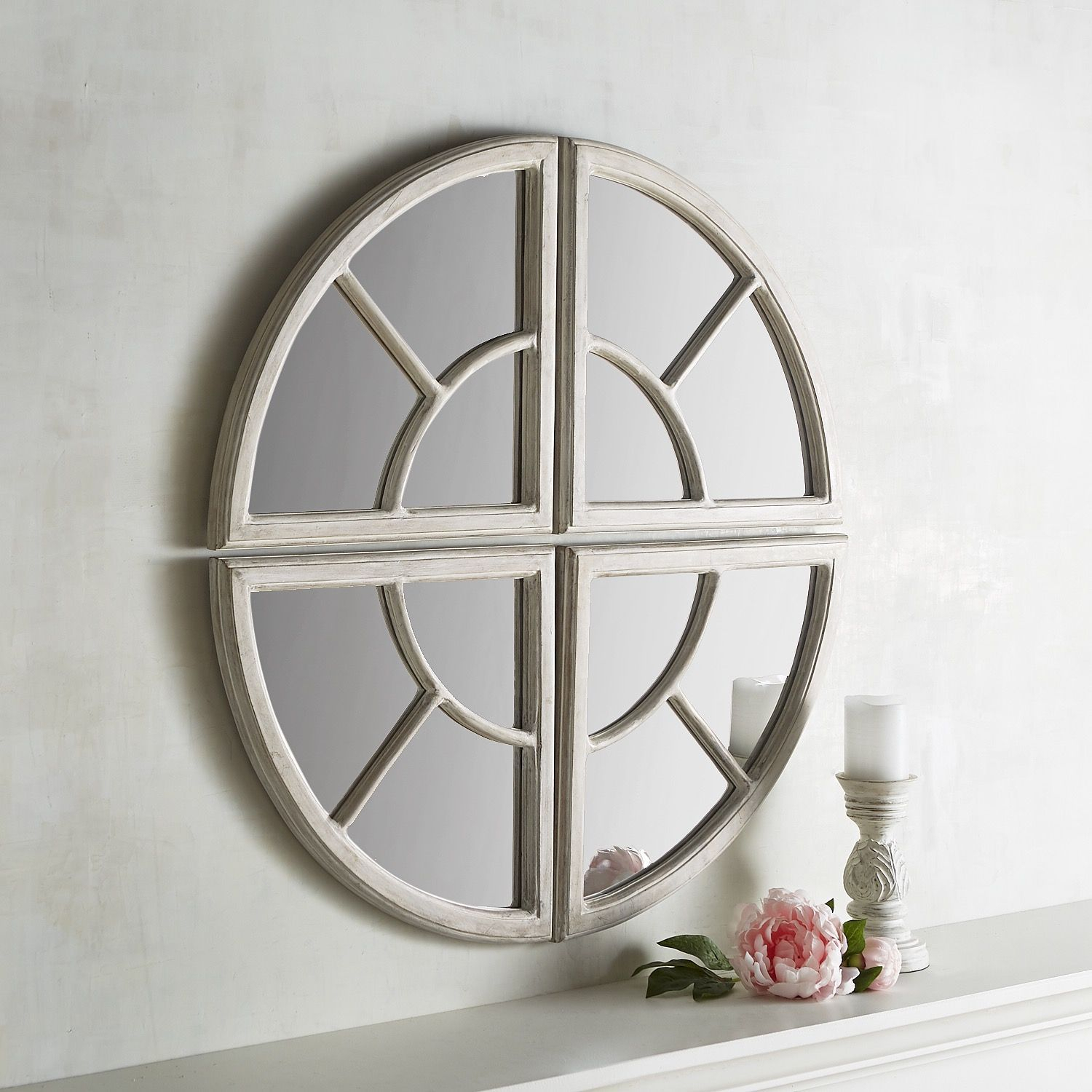 Maddie 4 Piece Wooden Round Mirror Set White | *decor With Polito Cottage/country Wall Mirrors (Image 18 of 30)
