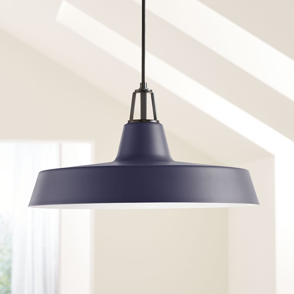 Maddox Navy Farmhouse Pendant Large With Black Socket In inside Conover 1-Light Dome Pendants (Image 20 of 30)