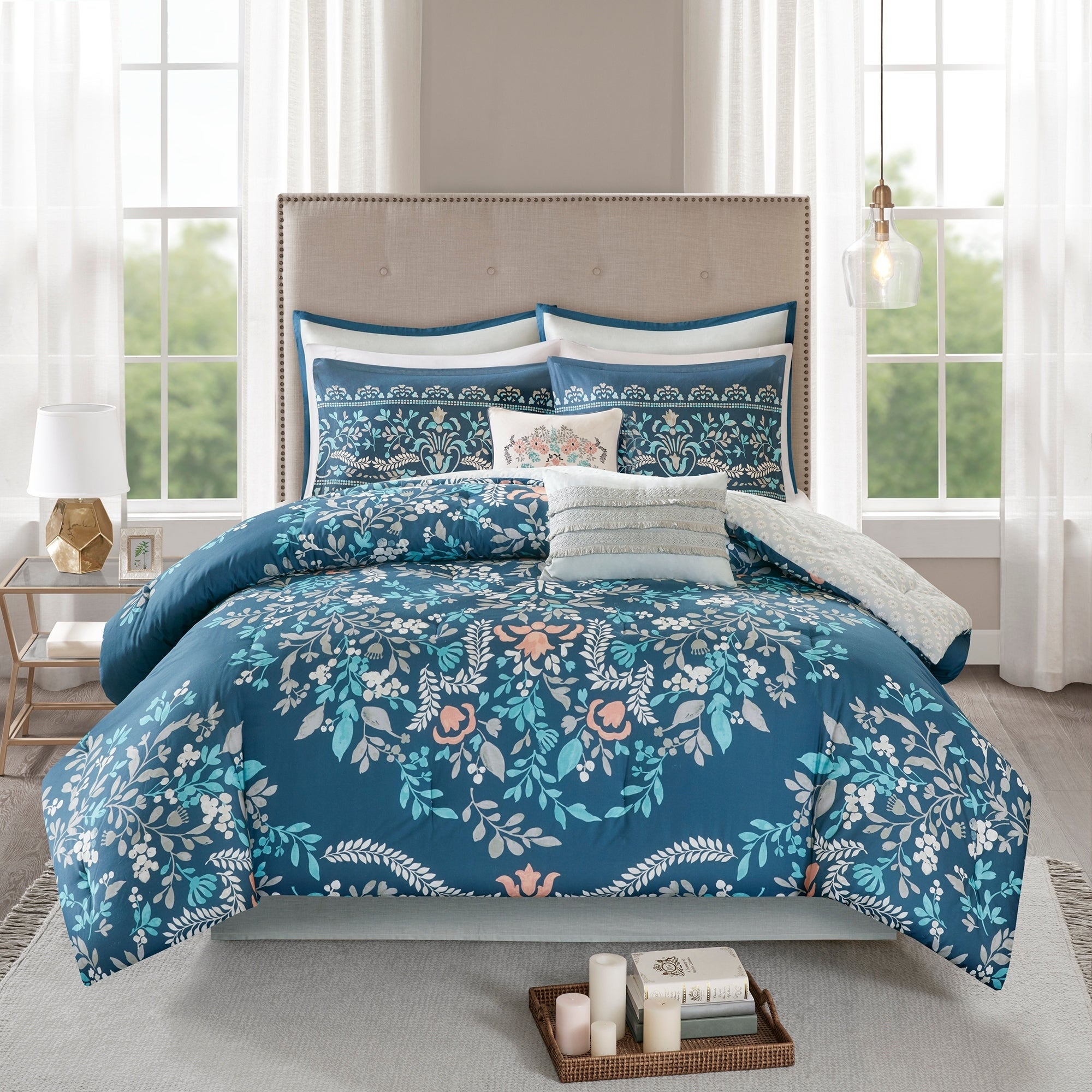 Madison Park Melora 8 Piece Cotton Printed Reversible Comforter Set pertaining to Melora 1-Light Single Geometric Pendants (Image 17 of 30)
