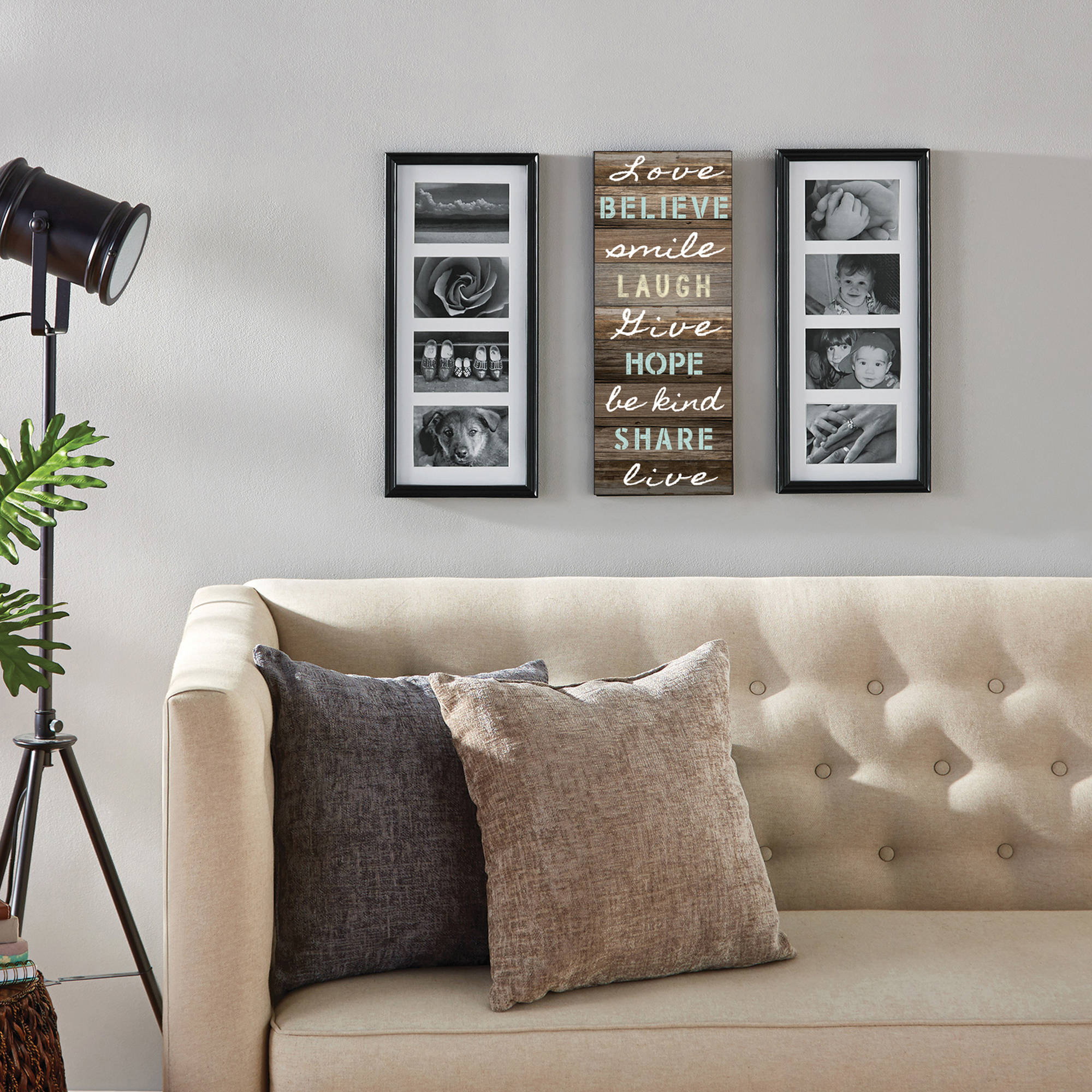 Mainstays 8 Opening Sentiment Picture Frames, Set Of 3, Black Pertaining To Live Love Laugh 3 Piece Black Wall Decor Sets (View 16 of 30)