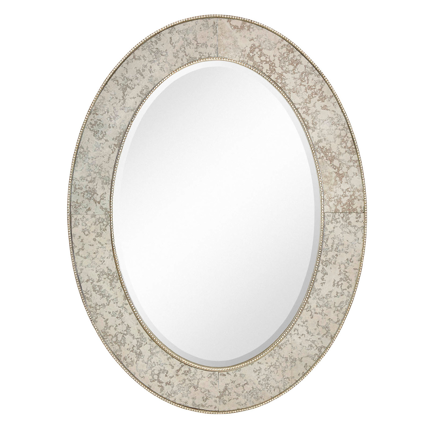 """Majestic 30"""" X 40"""" Traditional Silver Oval Framed Beveled Glass Accent Mirror Regarding Traditional Beveled Accent Mirrors (View 22 of 30)"""