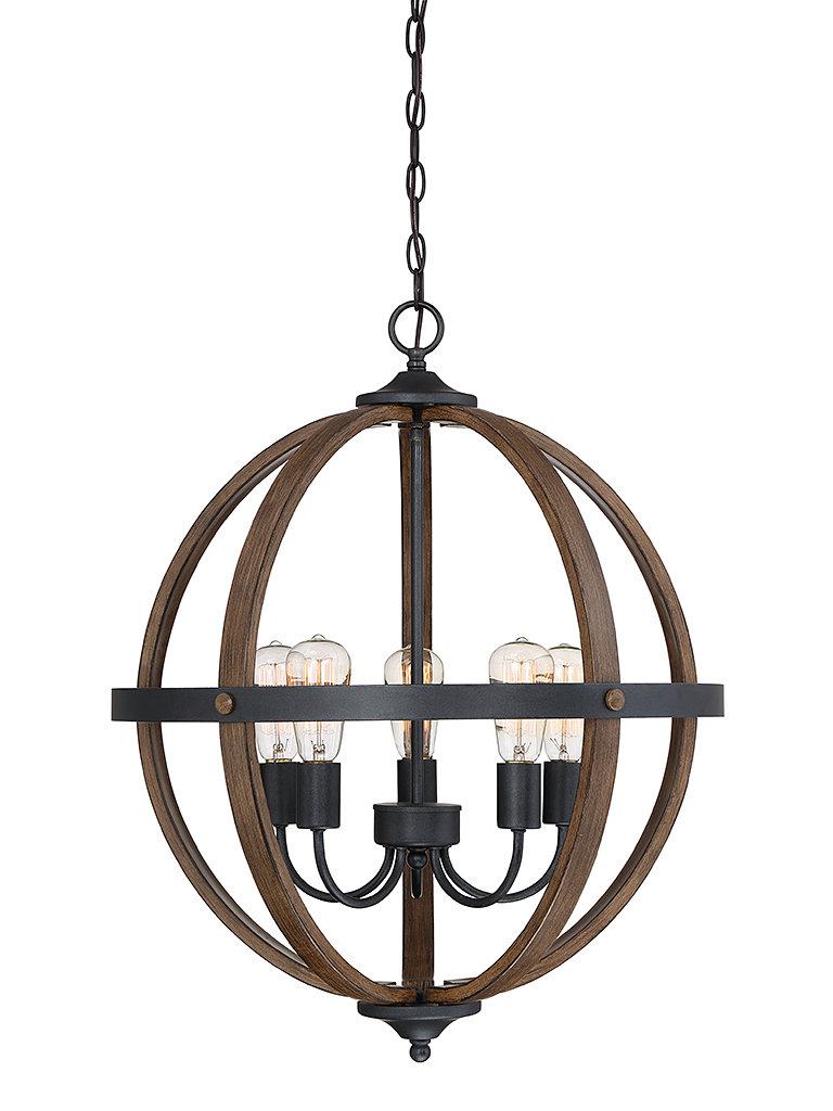 Makeba 5 Light Globe Chandelier With Regard To Filipe Globe Chandeliers (View 4 of 30)