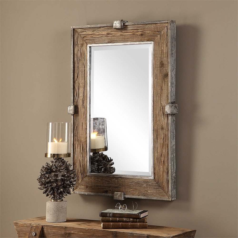 Maleah Weathered Wood Accent Mirror With Regard To Wood Accent Mirrors (View 3 of 30)