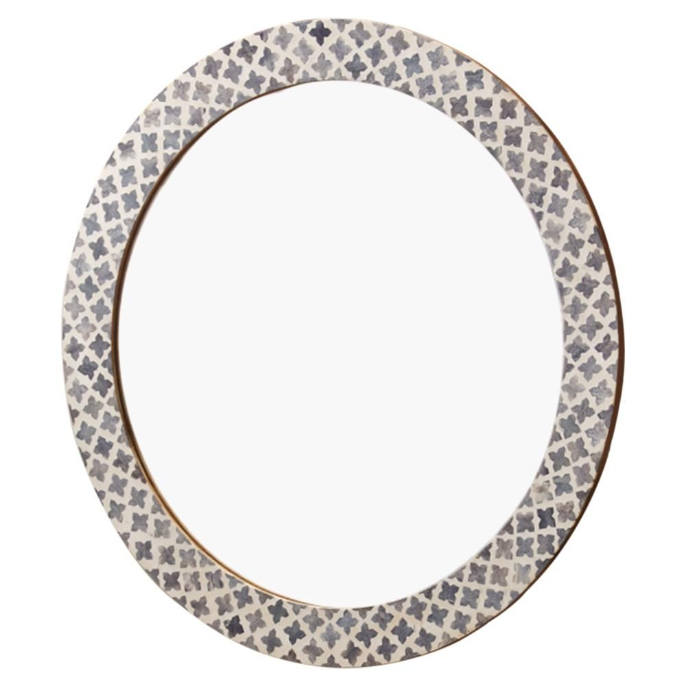 Mandie Global Bazaar Bone Grey Inlay Quatrefoil Round Wall Inside Round Eclectic Accent Mirrors (View 16 of 30)