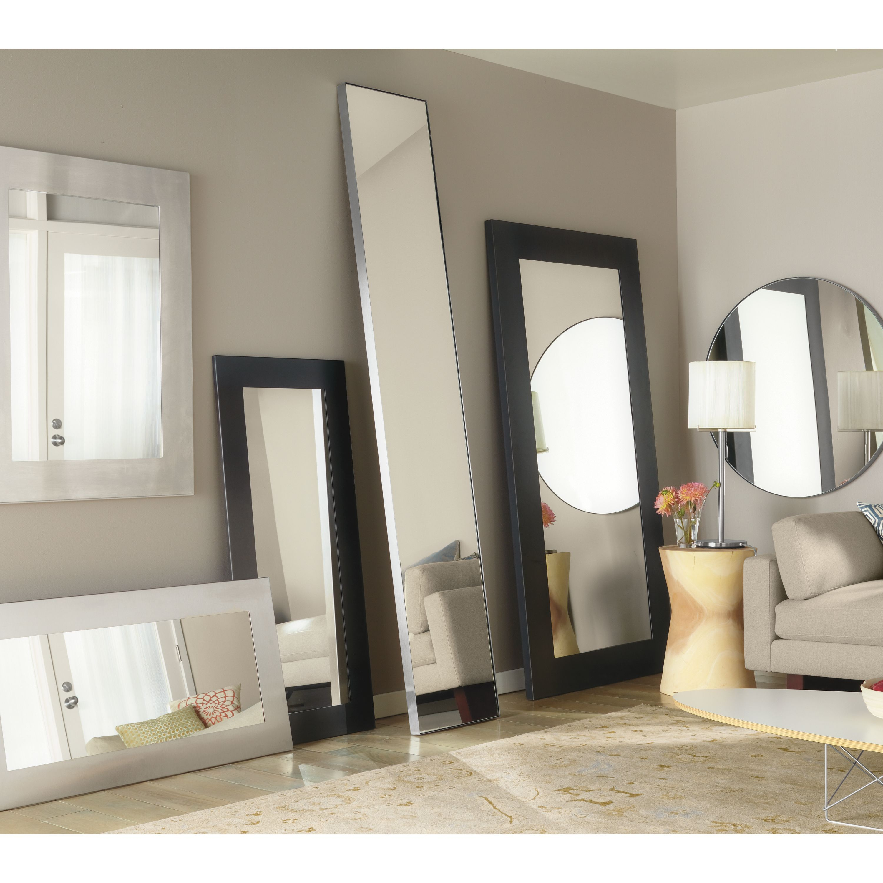 Manhattan Leaning Mirrors In Natural Steel | Products In pertaining to Leaning Mirrors (Image 25 of 30)