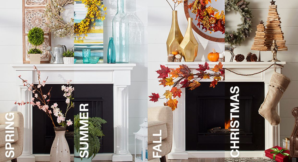 Mantel Decorating Ideasseason | Overstock With Regard To Three Flowers On Vine Wall Decor (View 15 of 30)