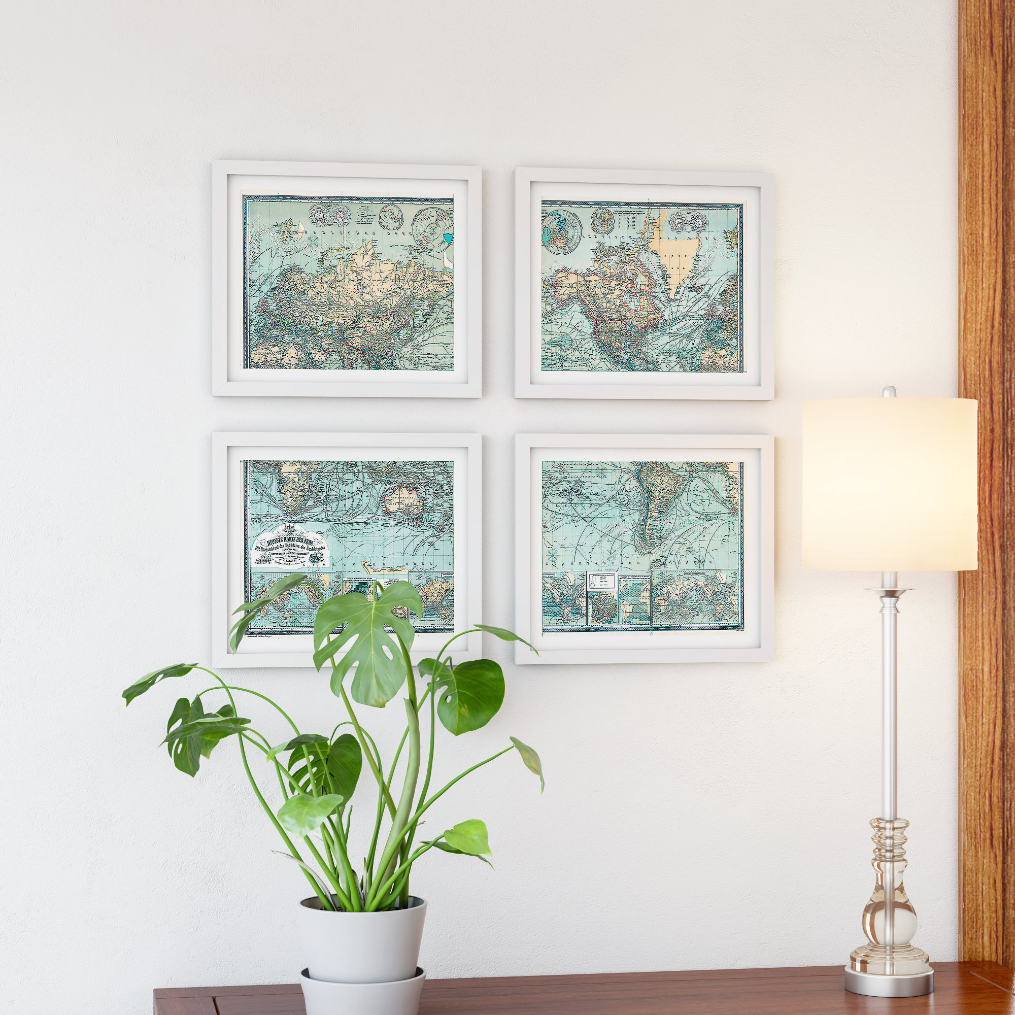 'map' 4 Piece Framed Graphic Art Set Throughout 4 Piece Wall Decor Sets By Charlton Home (View 2 of 30)