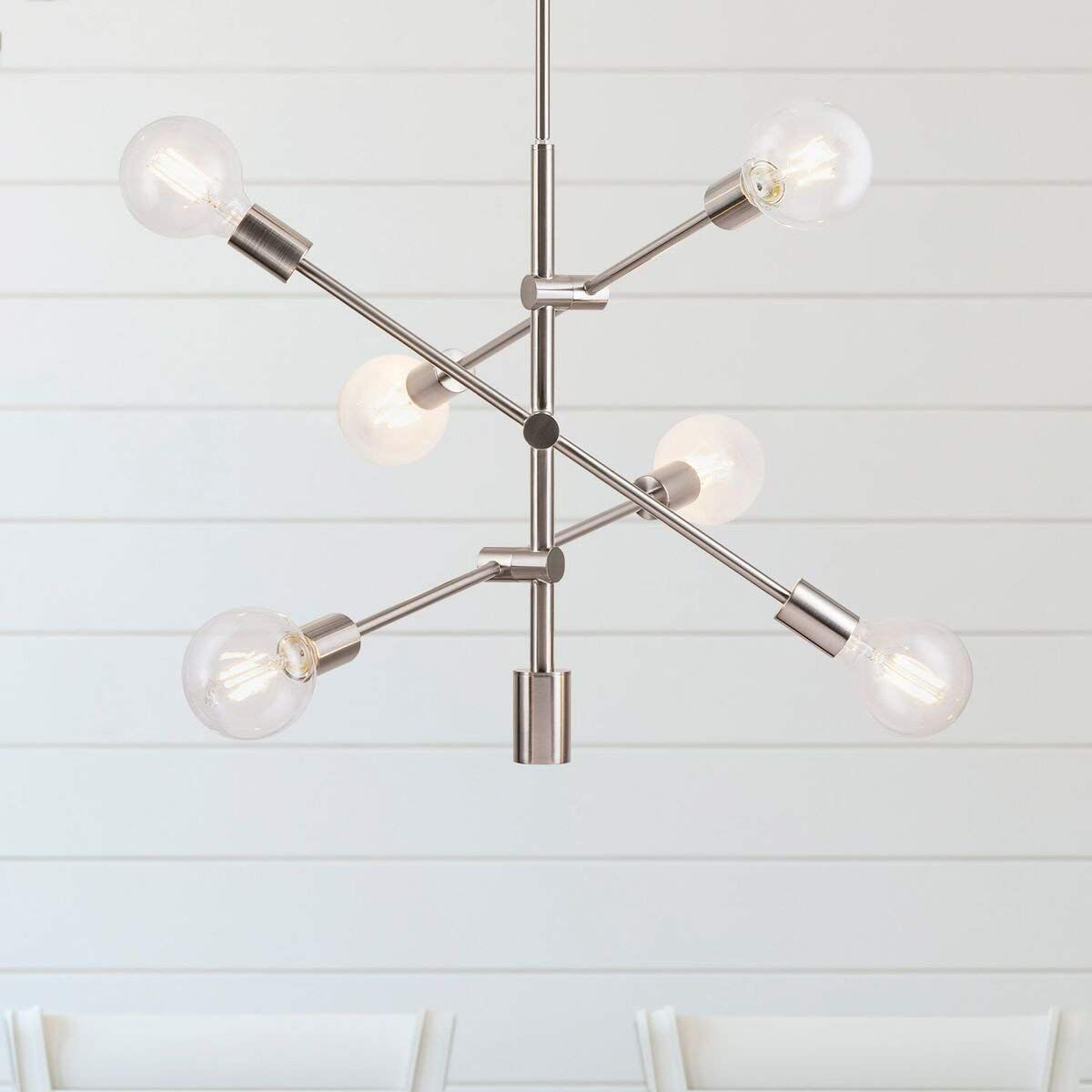 Marabella Led Sputnik Chandelier Light Fixture, Brushed With Regard To Eladia 6 Light Sputnik Chandeliers (View 14 of 30)