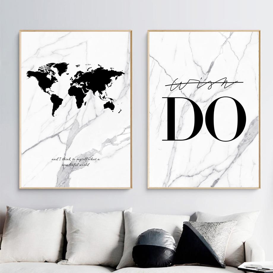 Marble Do World Map Canvas Painting Wall Art Print, Nordic with Wonderful World Wall Decor (Image 11 of 30)