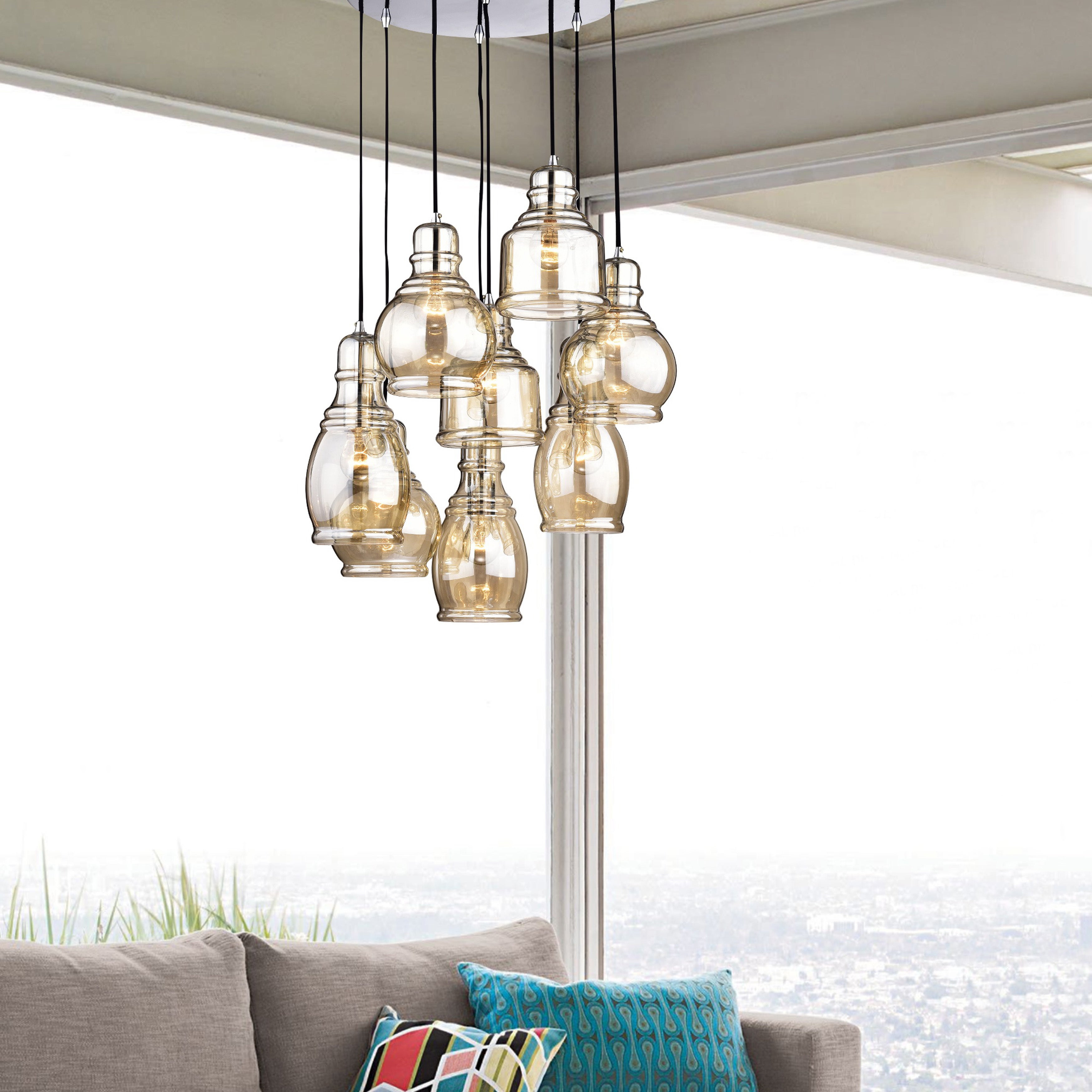 Mariana 8 Light Cognac Glass Cluster Pendant Chandelier With Chrome Finish And Round Base Intended For Pruett Cognac Glass 8 Light Cluster Pendants (View 22 of 30)