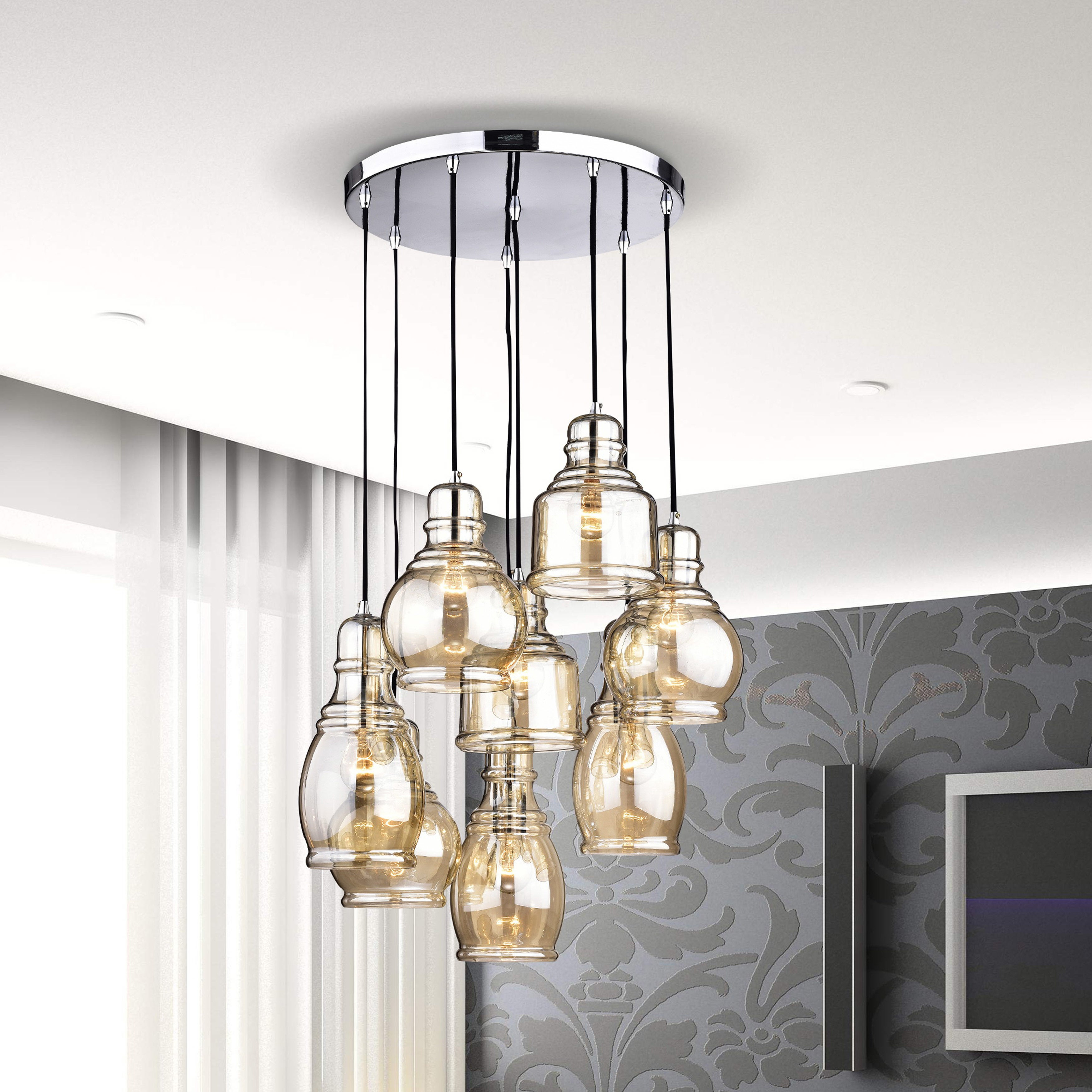 Mariana 8 Light Cognac Glass Cluster Pendant Chandelier With Chrome Finish And Round Base Throughout Pruett Cognac Glass 8 Light Cluster Pendants (View 10 of 30)