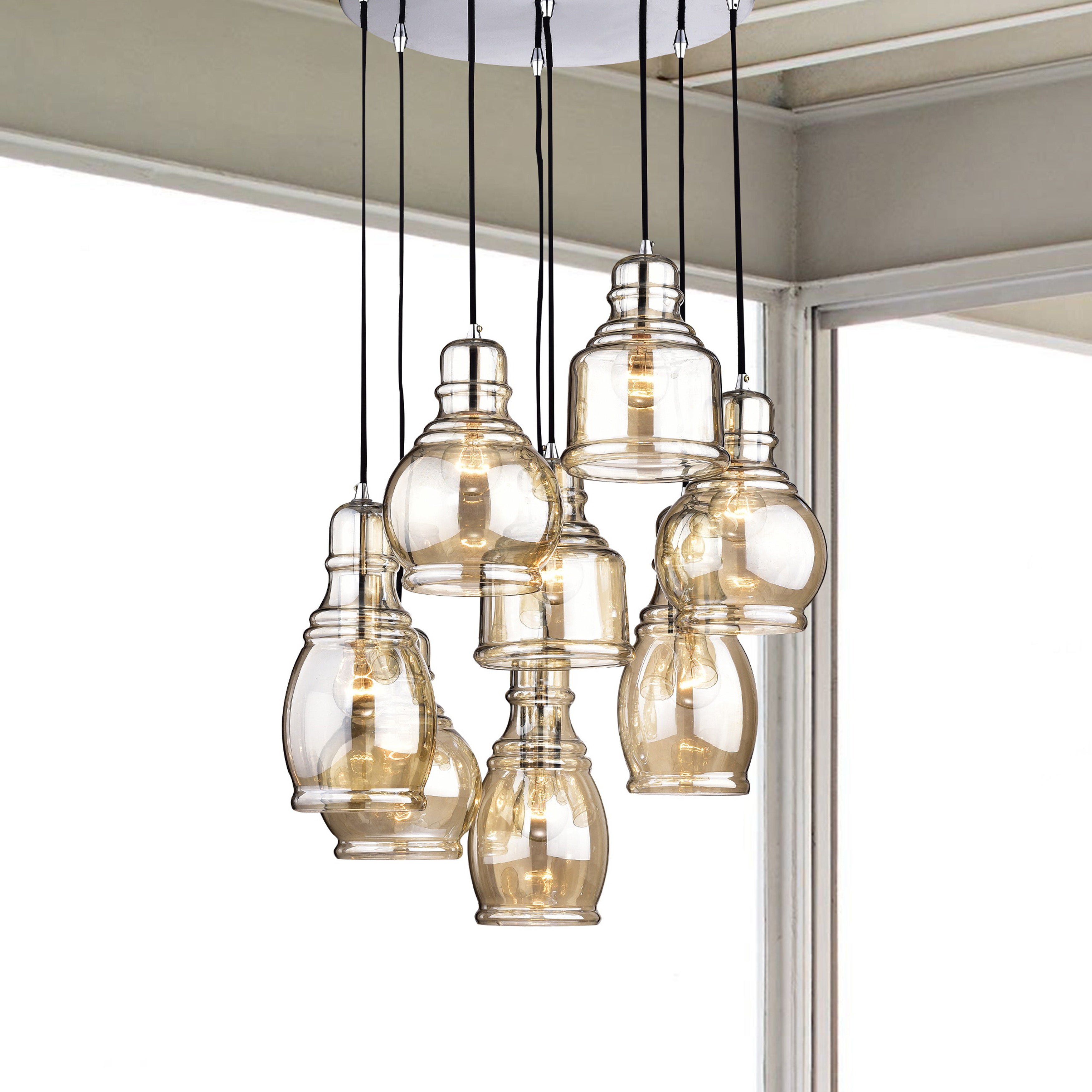 Mariana 8 Light Cognac Glass Cluster Pendant Chandelier With Chrome Finish And Round Base Throughout Pruett Cognac Glass 8 Light Cluster Pendants (View 7 of 30)