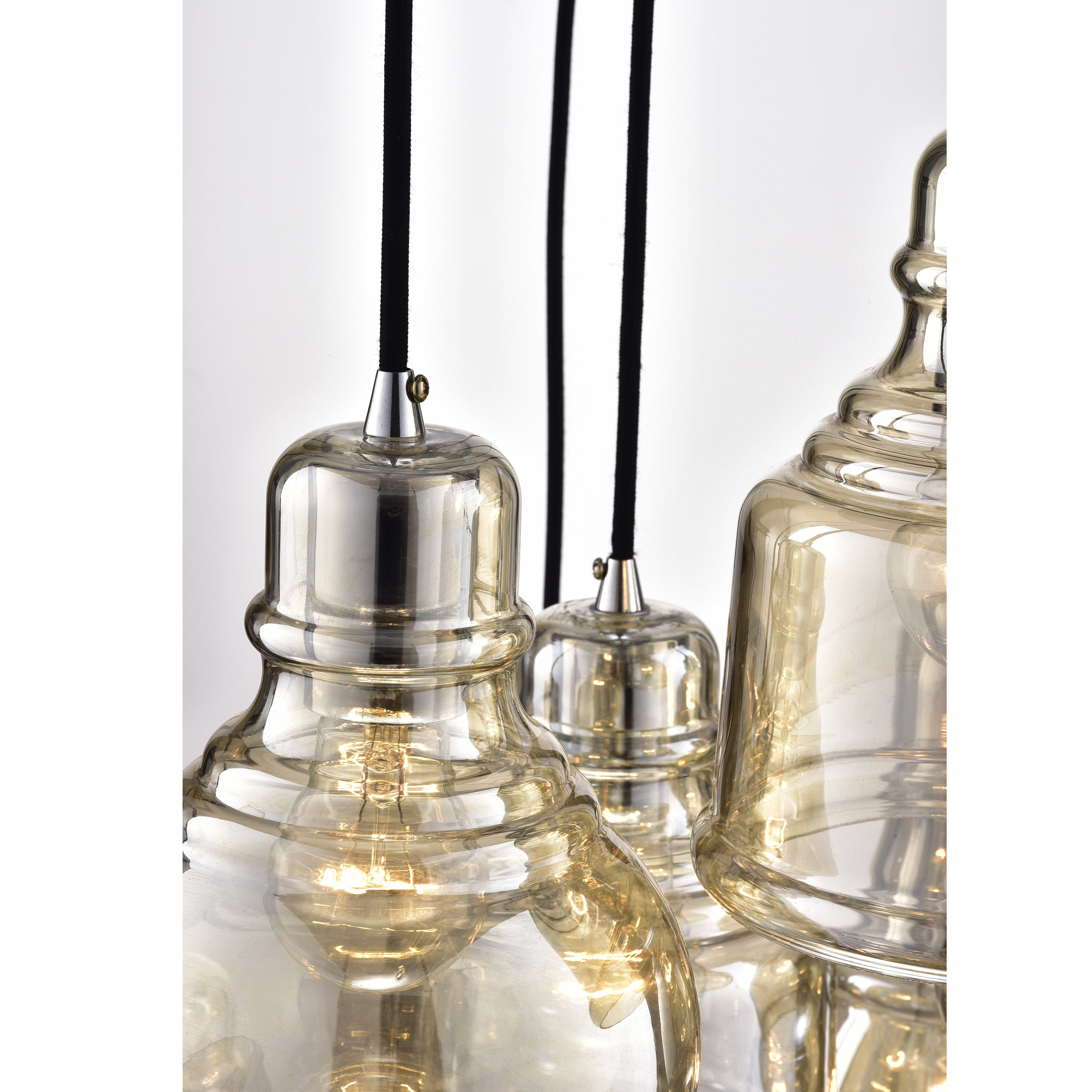 Mariana 8 Light Cognac Glass Cluster Pendant Chandelier With Chrome Finish And Round Base Within Pruett Cognac Glass 8 Light Cluster Pendants (View 16 of 30)