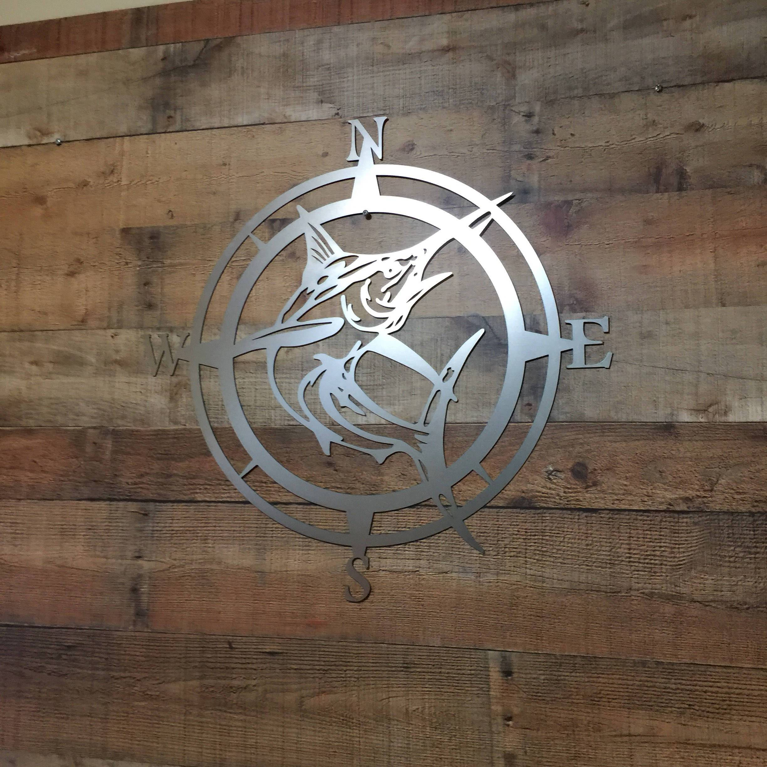 Marlin Compass Wall Decor, Marlin Compass,wall Art, Nautical With Outdoor Metal Wall Compass (View 22 of 30)