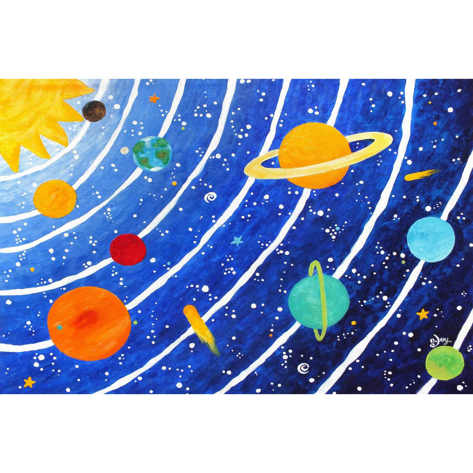 Marmont Hill – 'solar System Blue'nicola Joyner Painting Print On  Wrapped Canvas – Multi Color Pertaining To Joyner Sideboards (Image 21 of 30)