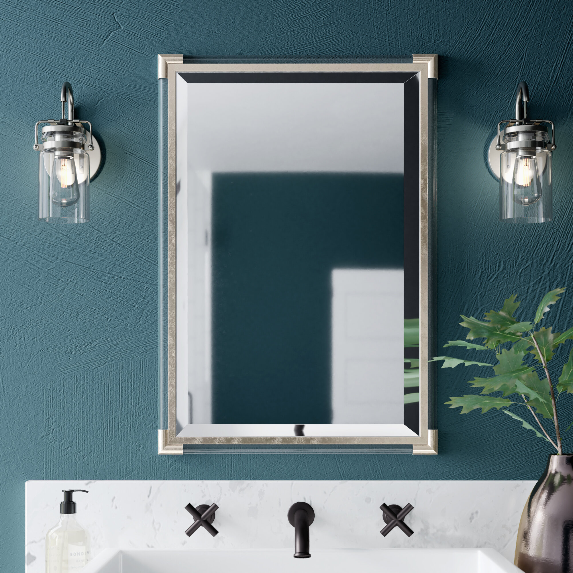 Marta Silver Frame Accent Wall Mirror With Silver Frame Accent Mirrors (View 4 of 30)