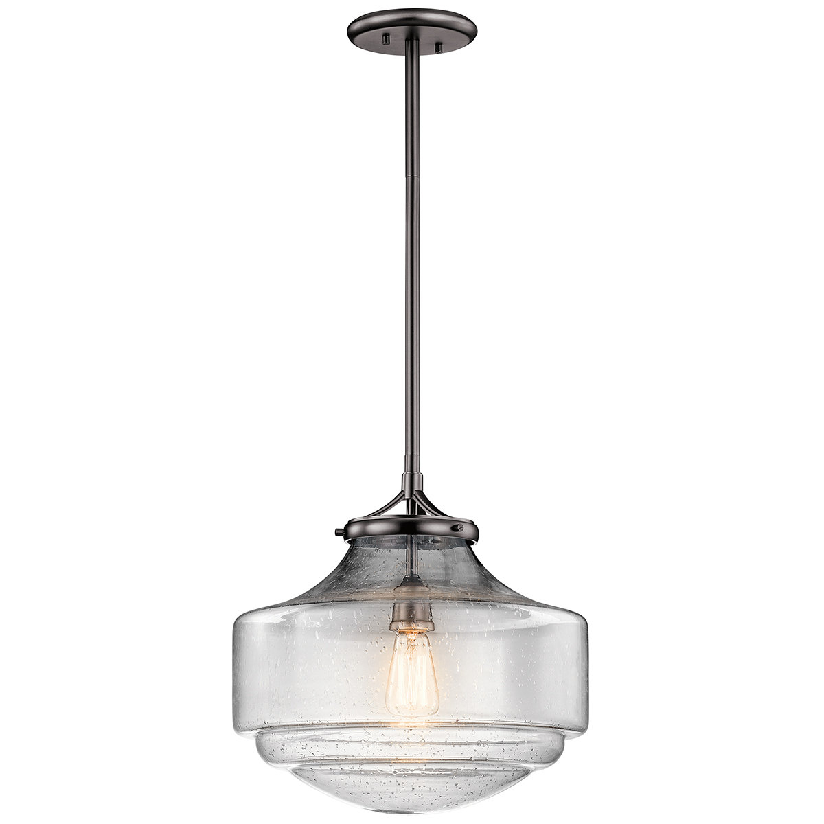 Marybeth 1-Light Schoolhouse Pendant in Mueller 1-Light Single Dome Pendants (Image 16 of 30)
