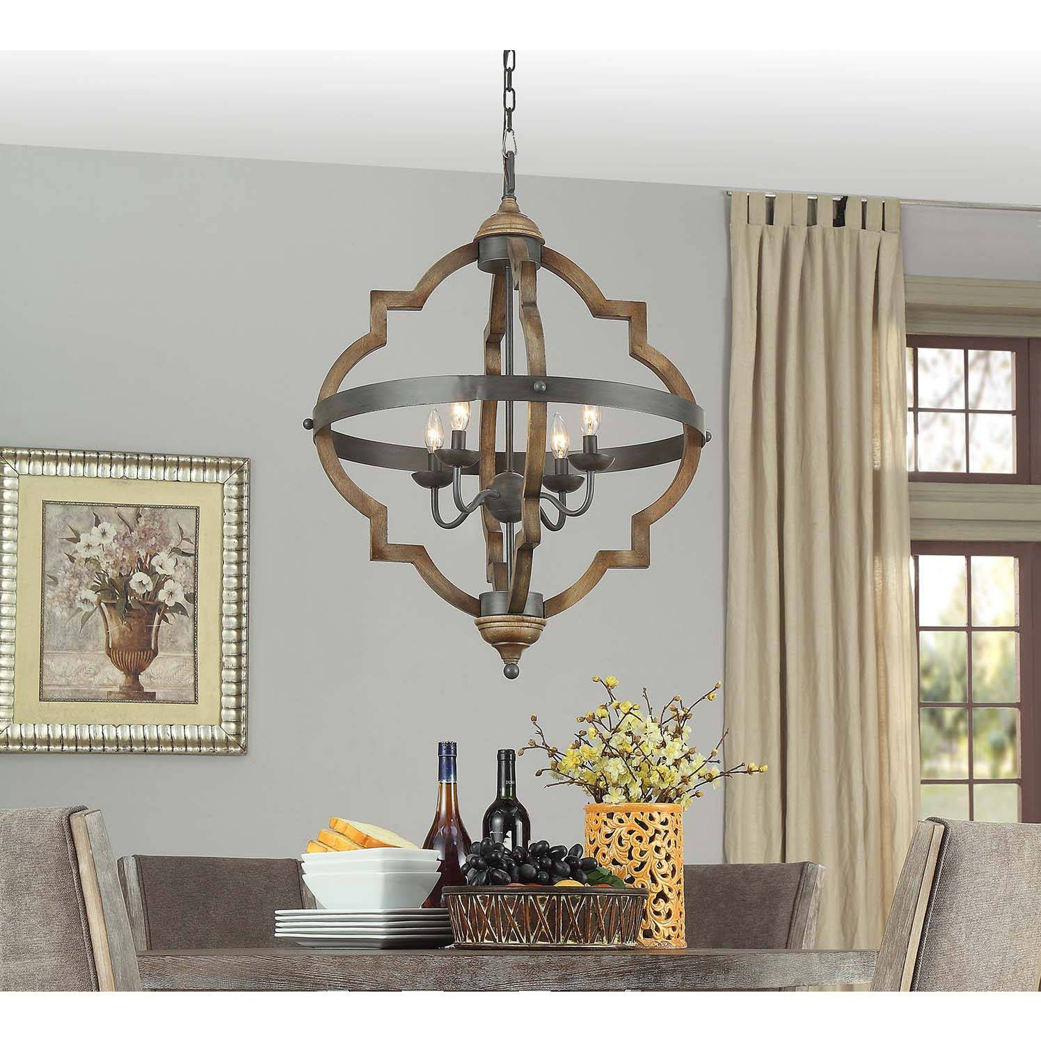 Mason Quatrefoil 4 Light Chandelier (distressed Mahagony Regarding Bennington 4 Light Candle Style Chandeliers (View 12 of 30)