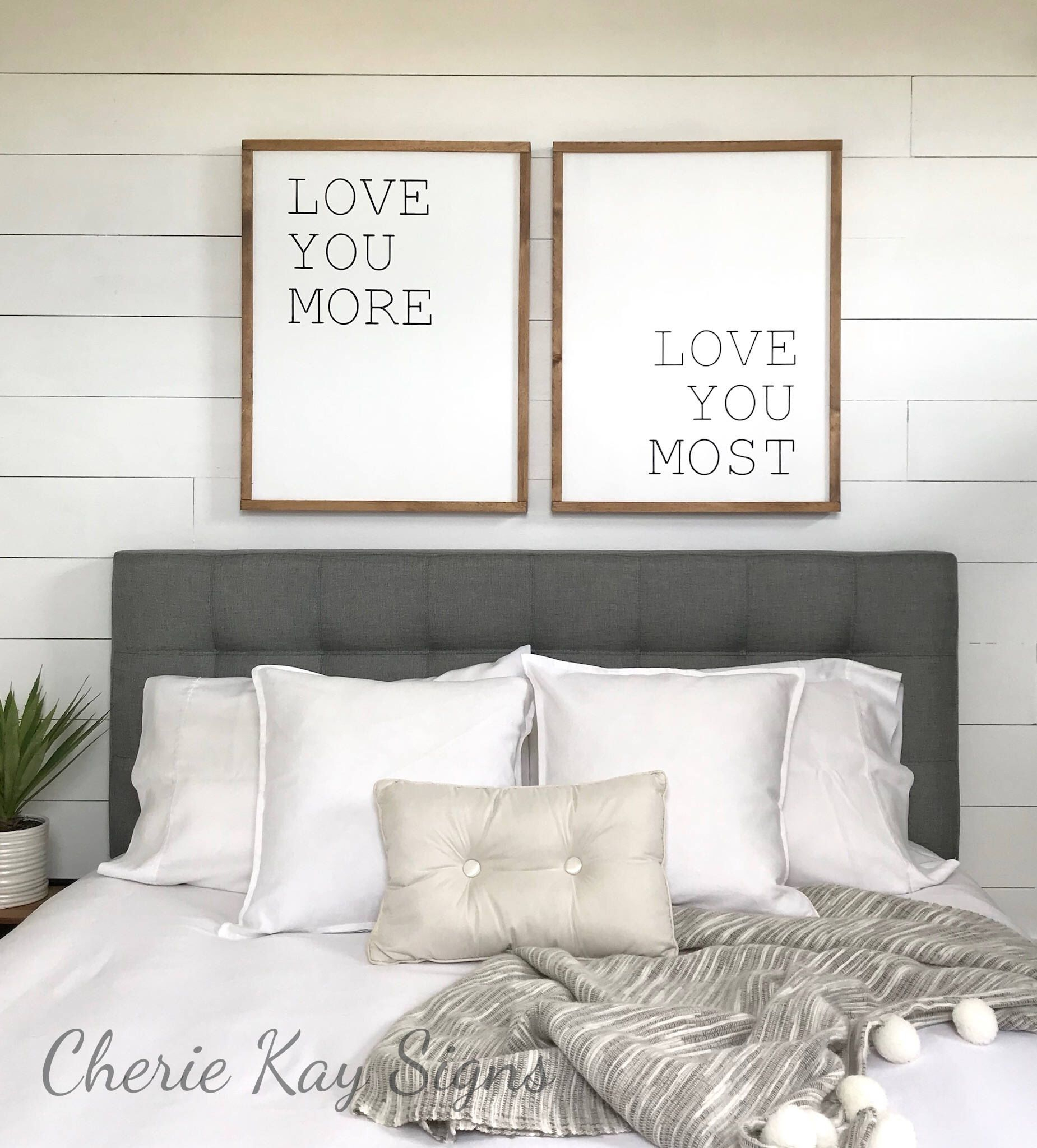 Master Bedroom Wall Decor | Love You More Love You Most Sign for 'love You More' Wood Wall Decor (Image 29 of 30)