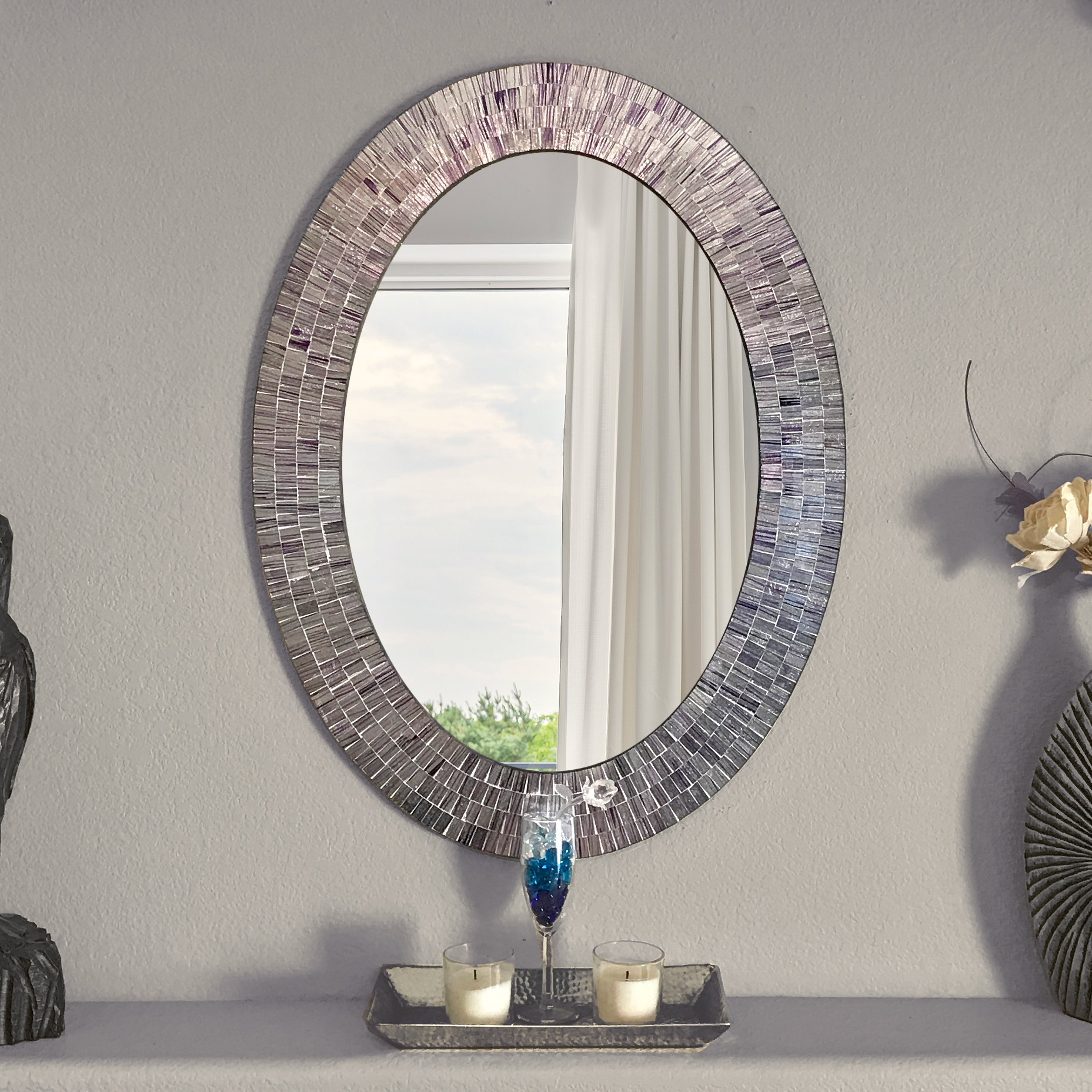 Mckim Wall Mounted Mirror Within Sajish Oval Crystal Wall Mirrors (View 28 of 30)