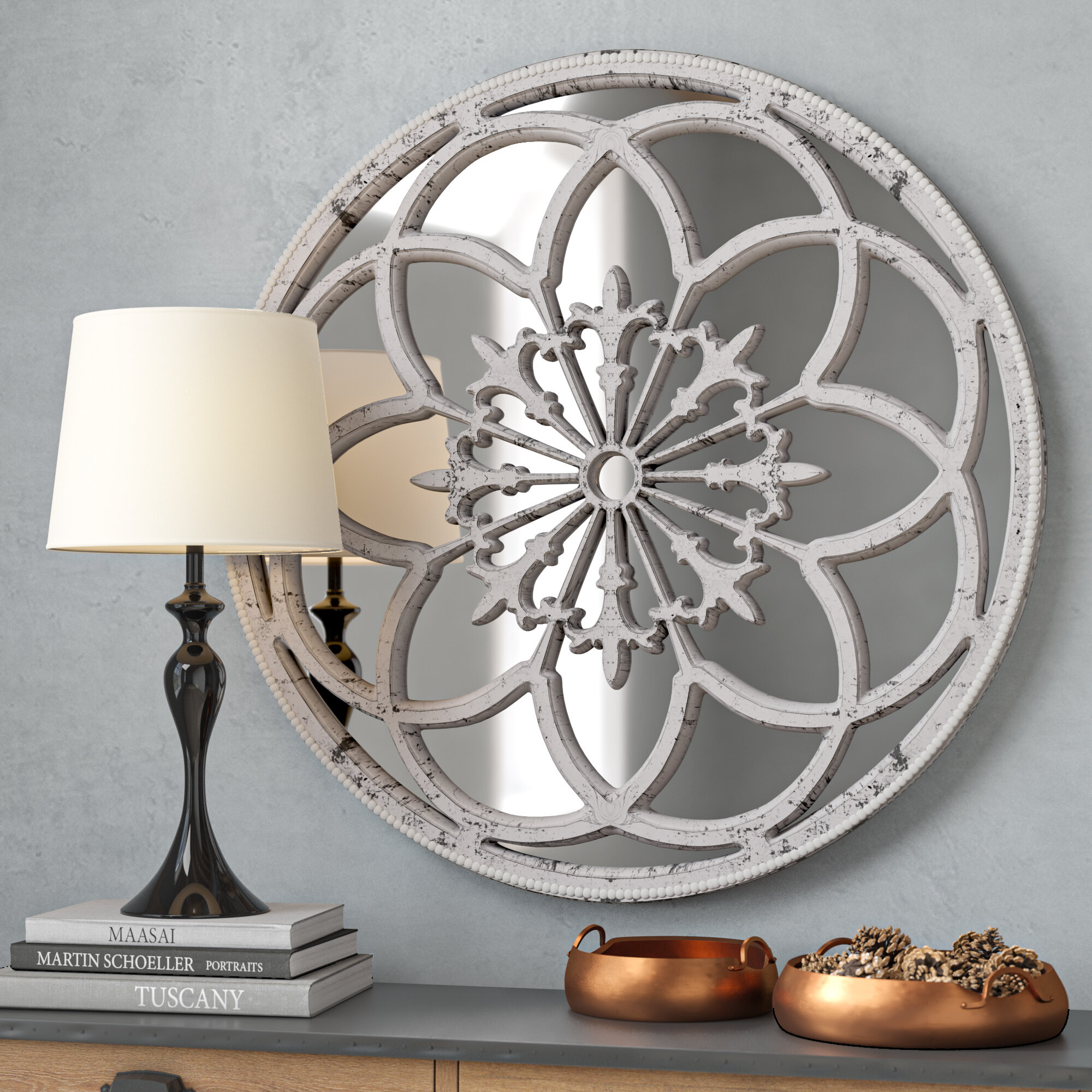 Medallion Mirror | Wayfair Regarding Medallion Accent Mirrors (View 22 of 30)