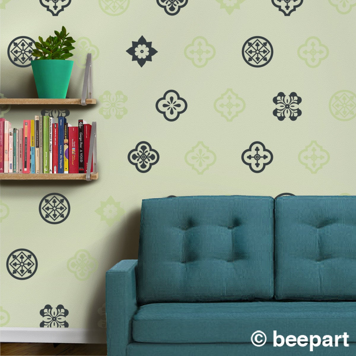 Mediterranean Design Wall Decal Set Spanish Pattern Designs For Spanish Ornamental Wall Decor (View 3 of 30)