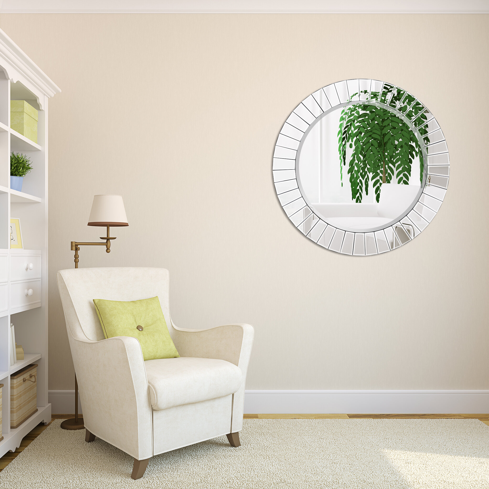Meira Modern Round Beveled Wall Mirror Throughout Lidya Frameless Beveled Wall Mirrors (View 18 of 30)
