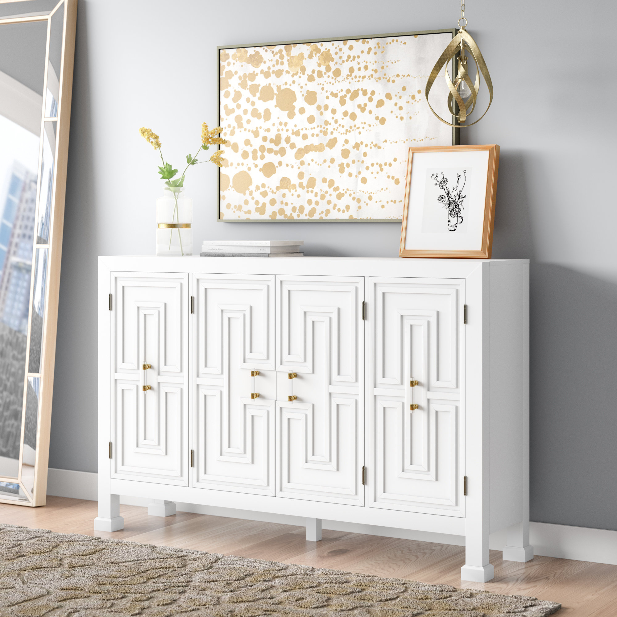 Mercer41 Lainey Credenza & Reviews | Wayfair pertaining to Lainey Credenzas (Image 16 of 30)