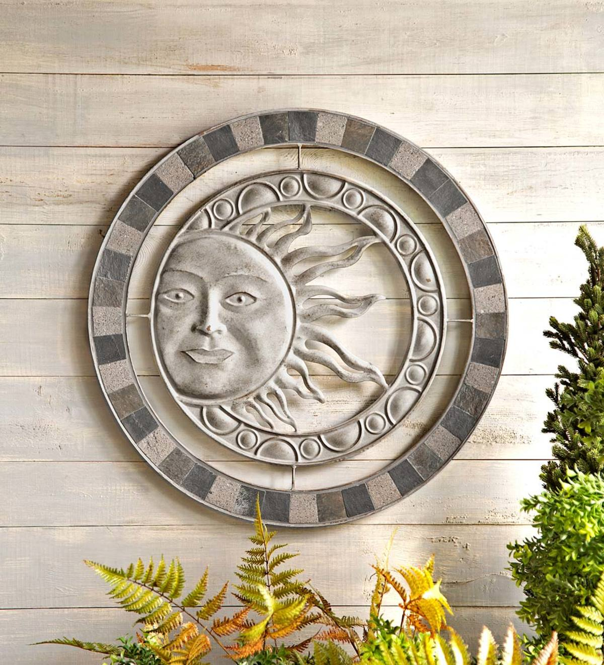 Metal And Stone Sun Wall Art | Wind And Weather For Recycled Moon And Sun Wall Decor (View 8 of 30)