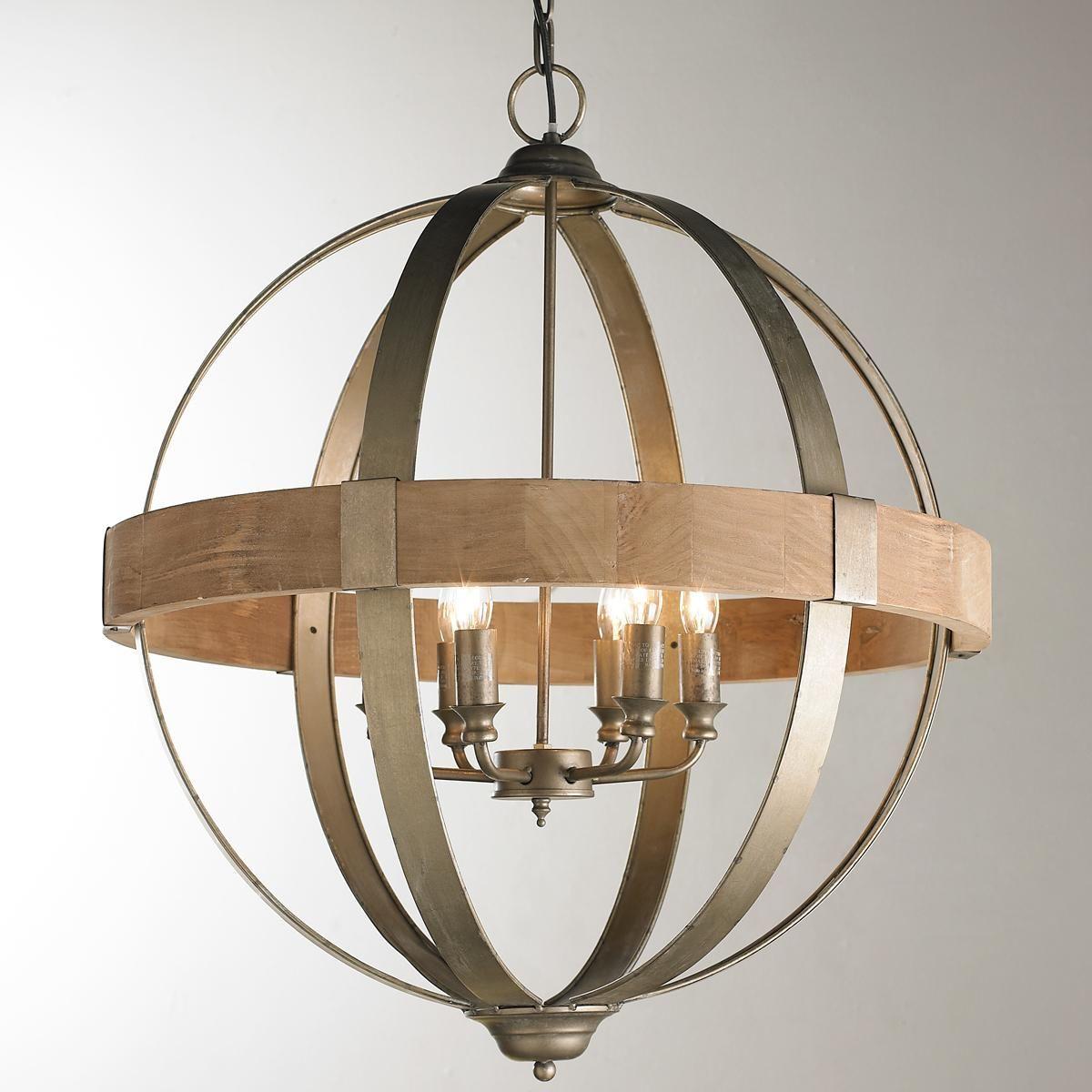 Metal And Wood Globe Chandelier – 6 Light | Feel Like A Kid Pertaining To Ricciardo 4 Light Globe Chandeliers (View 22 of 30)