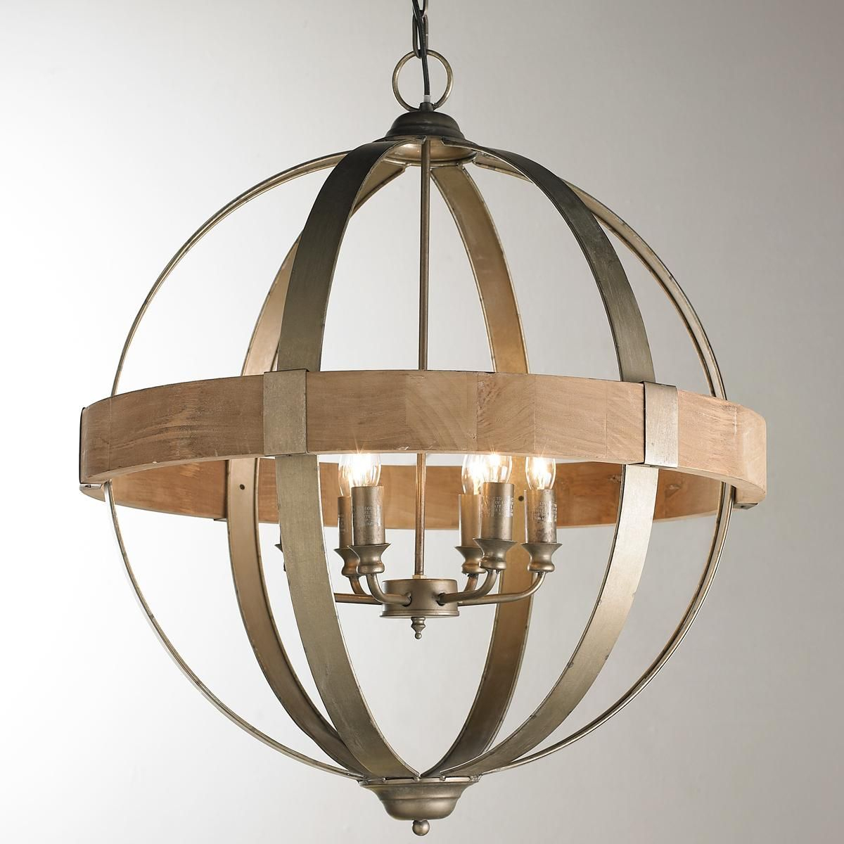 Metal And Wood Globe Chandelier – 6 Light | Feel Like A Kid Pertaining To Sherri 6 Light Chandeliers (View 21 of 30)