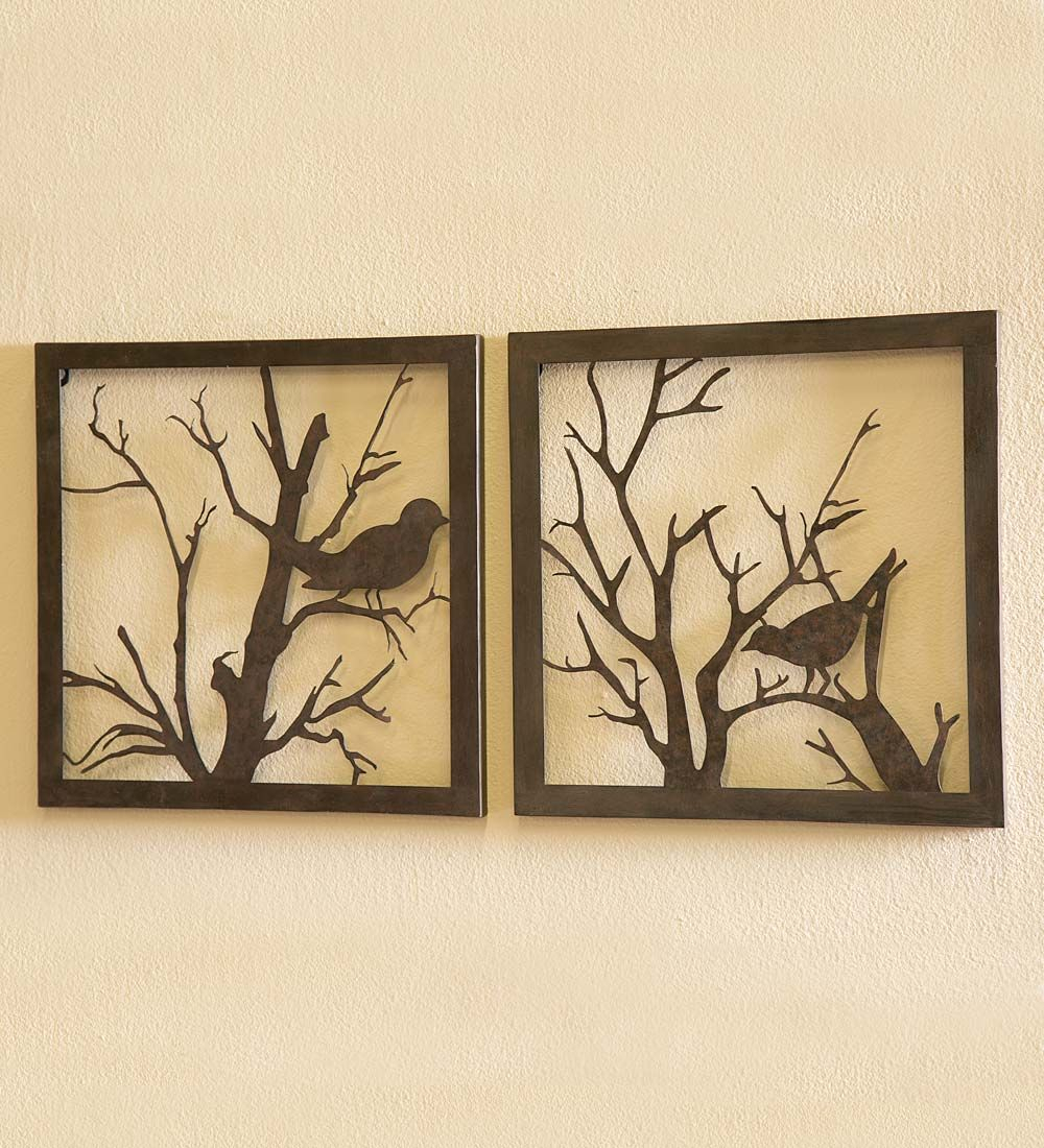 Metal Bird Wall Art, Set Of 2 | Wall Art | Bring The Beauty For Desford Leaf Wall Decor (View 24 of 30)