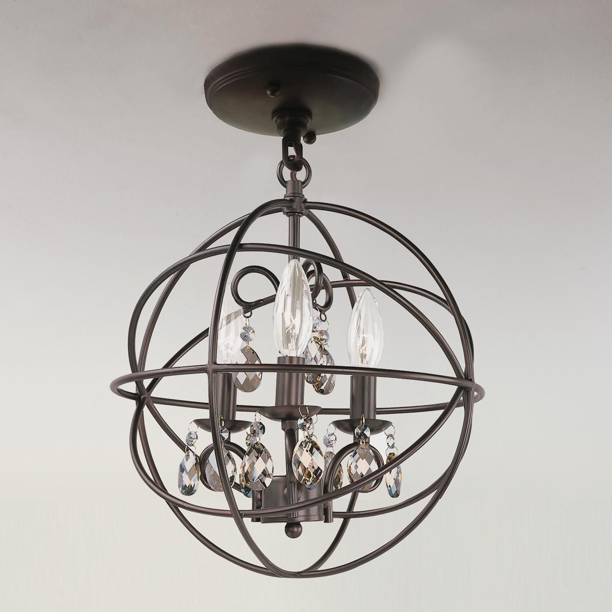 Metal Cage Globe And Crystal Mini Chandelier | Master Pertaining To La Sarre 3 Light Globe Chandeliers (View 23 of 30)