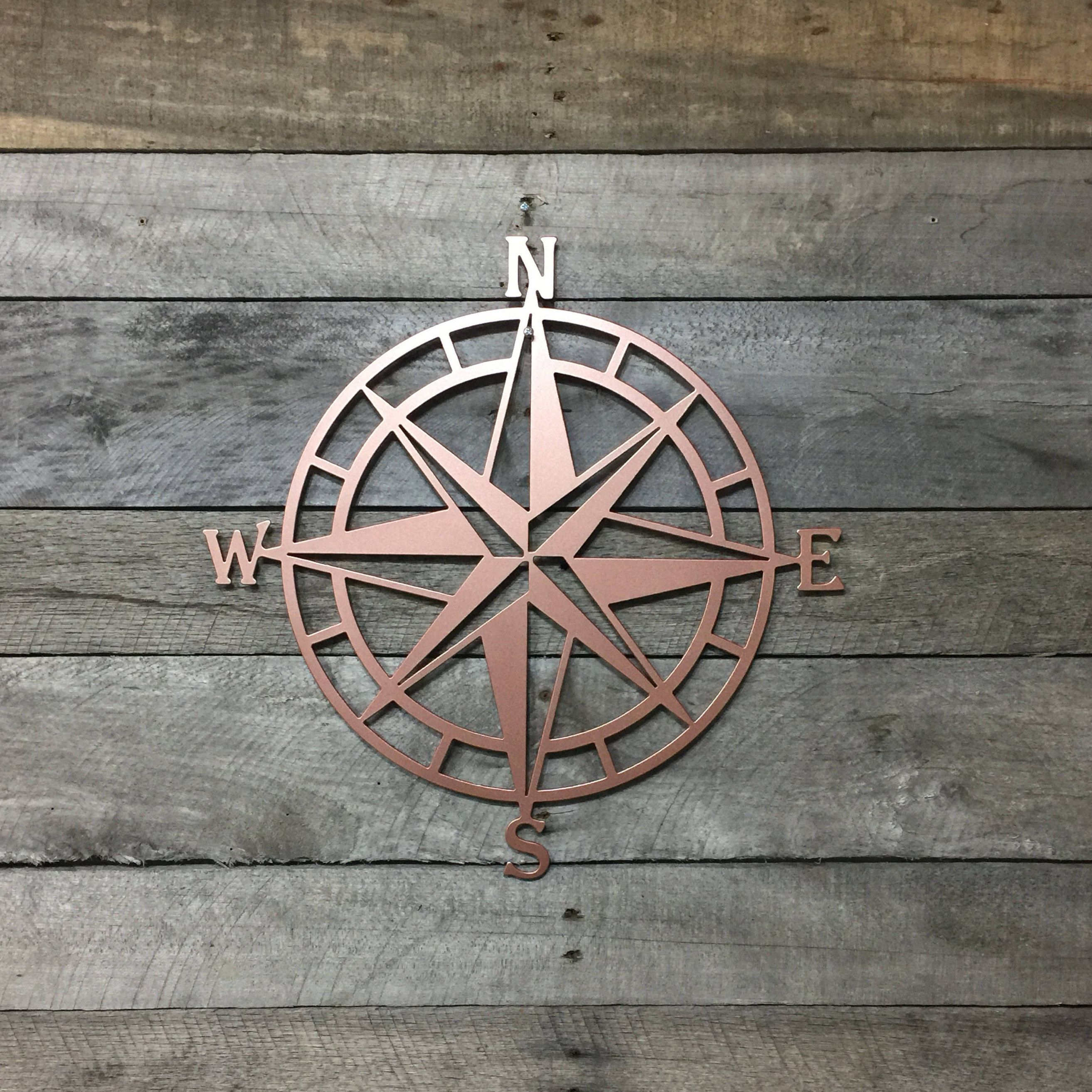 Metal Compass Rose Nautical Wall Art- Metal Wall Art/ Wall regarding Outdoor Metal Wall Compass (Image 25 of 30)