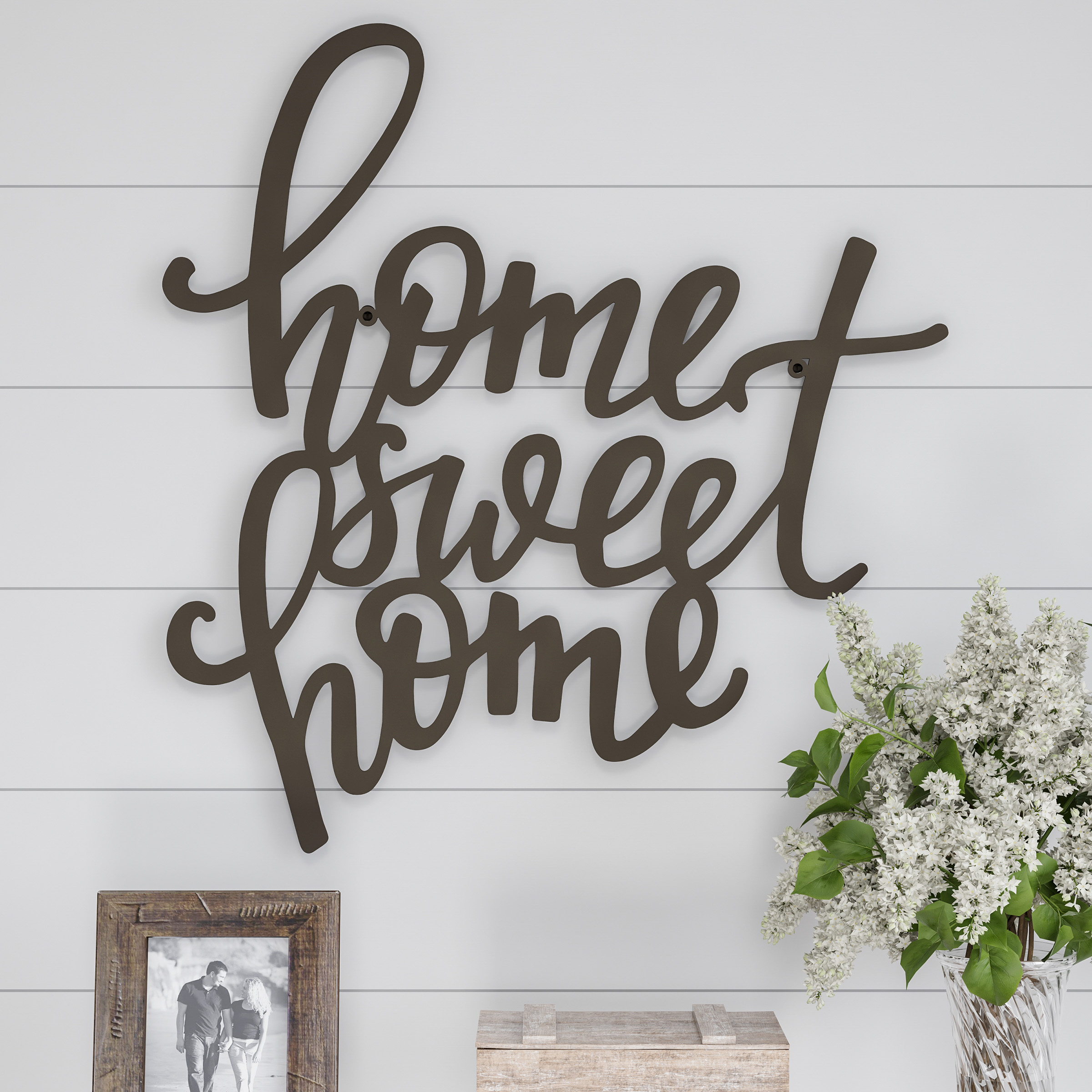 Metal Cutout Home Sweet Home Decorative Wall Sign 3d Word Art Home Accent Decor Perfect For Modern Rustic Or Vintage Farmhouse Stylelavish Home Throughout Laser Engraved Home Sweet Home Wall Decor (View 21 of 30)