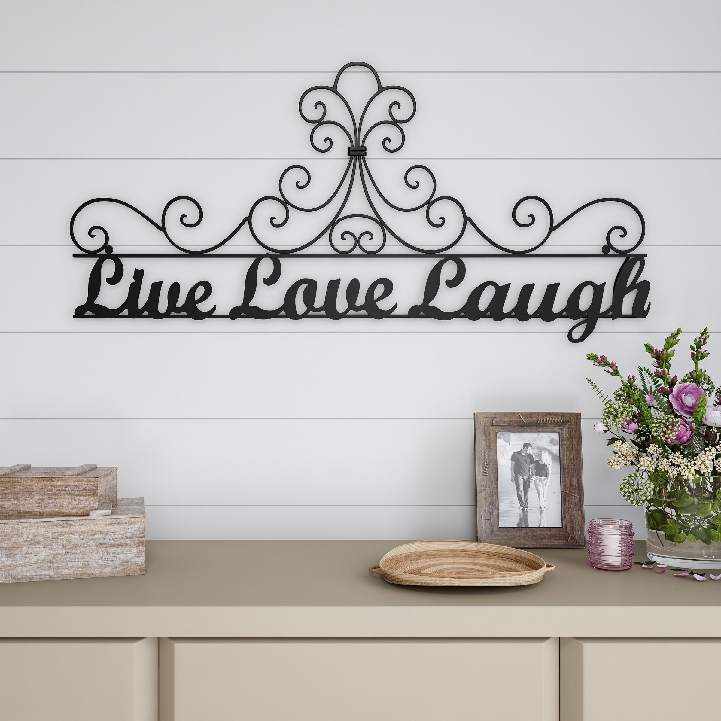 Metal Cutout Live Laugh Love Decorative Wall Sign 3d Word Art Lavish Home Pertaining To Live Love Laugh 3 Piece Black Wall Decor Sets (View 11 of 30)