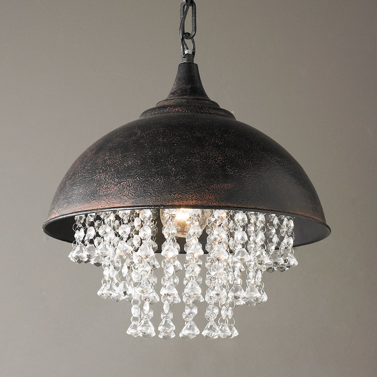 Metal Dome Pendant With Crystals | Elissa's Kitchen With Monadnock 1 Light Single Dome Pendants (View 17 of 30)