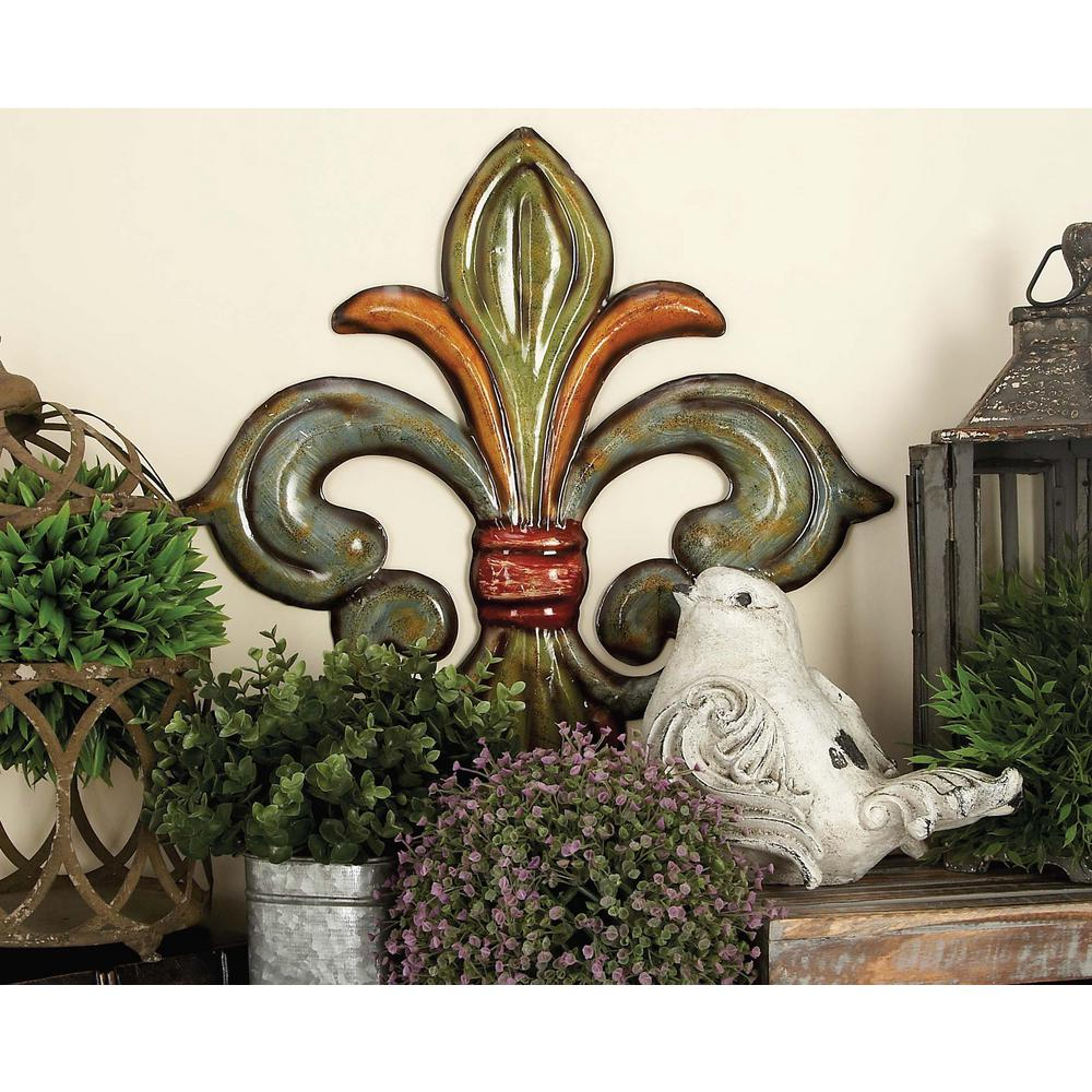 Metal Fleur De Lis Wall Decor In Green, Gold And Red (set Of 3) Inside 2 Piece Metal Wall Decor Sets By Fleur De Lis Living (View 3 of 30)