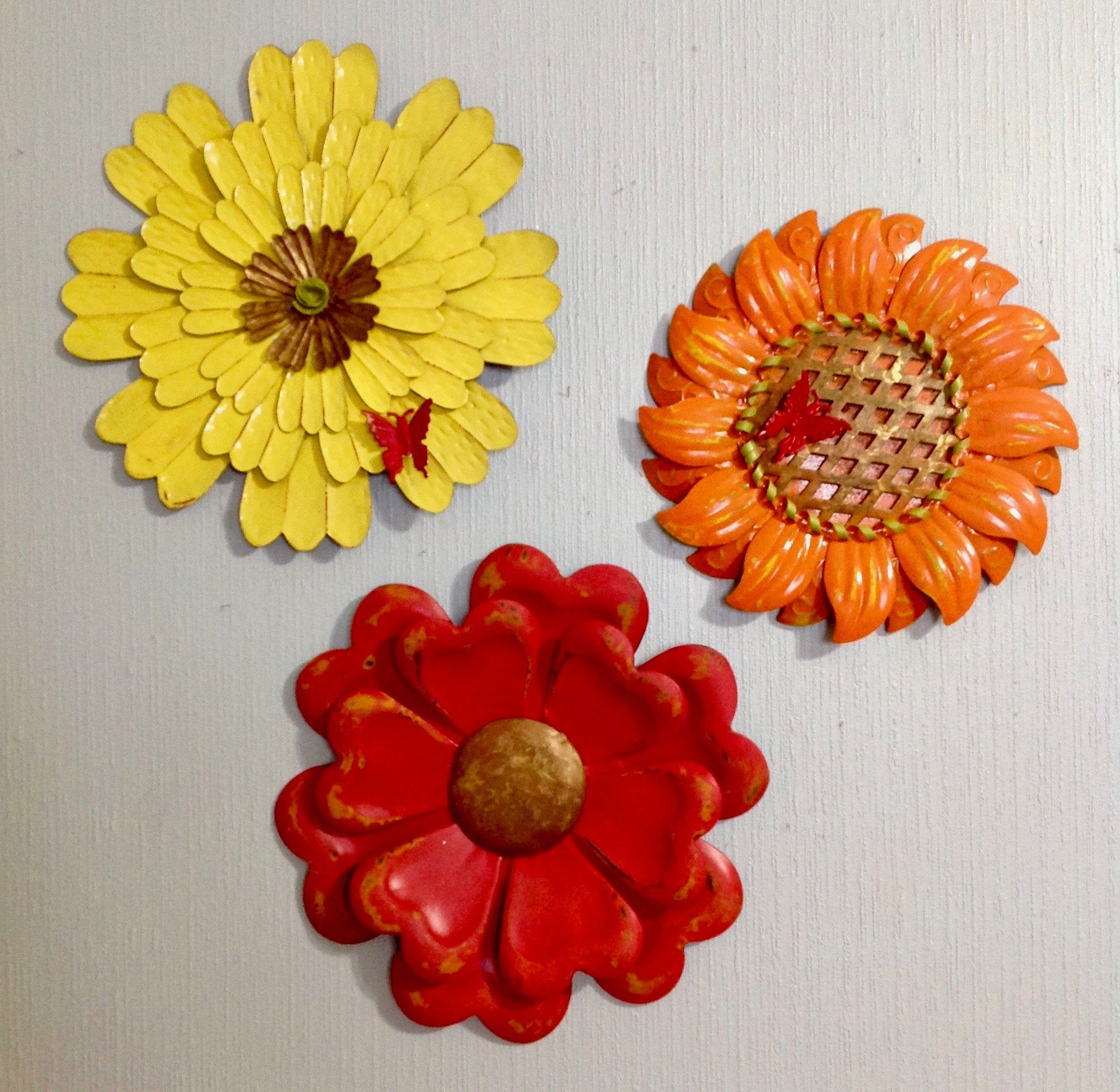 Metal Flower Fence Art W/butterflies – Red Orange Yellow In Metal Flower Wall Decor (Set Of 3) (View 30 of 30)
