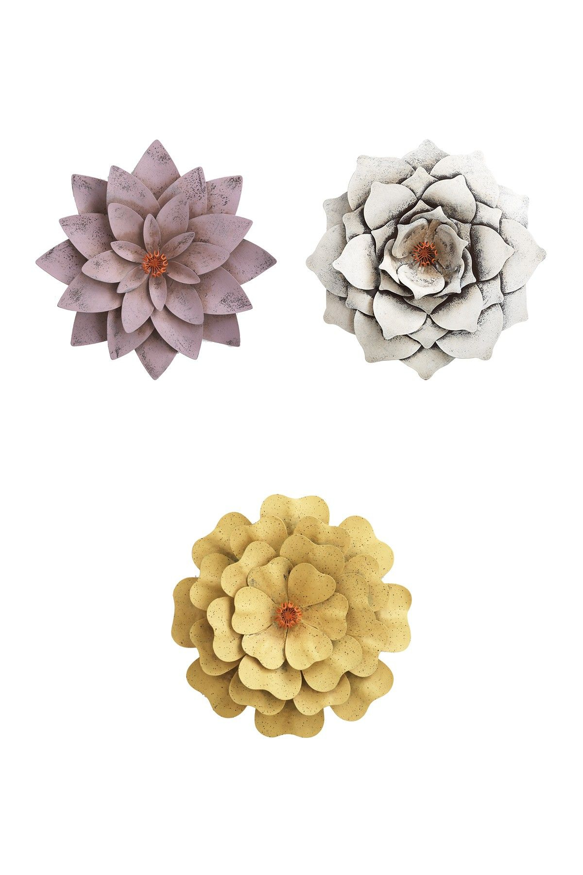 Featured Photo of Metal Flower Wall Decor (Set Of 3)