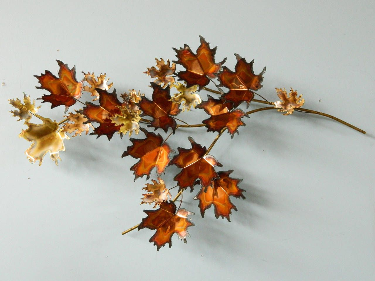 Metal Maple Tree Branch Wall Sculpturecurtis Jere within Leaves Metal Sculpture Wall Decor (Image 25 of 30)