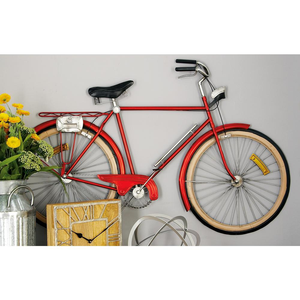 Metal Red Bicycle Wall Decor Inside Bike Wall Decor (View 4 of 30)