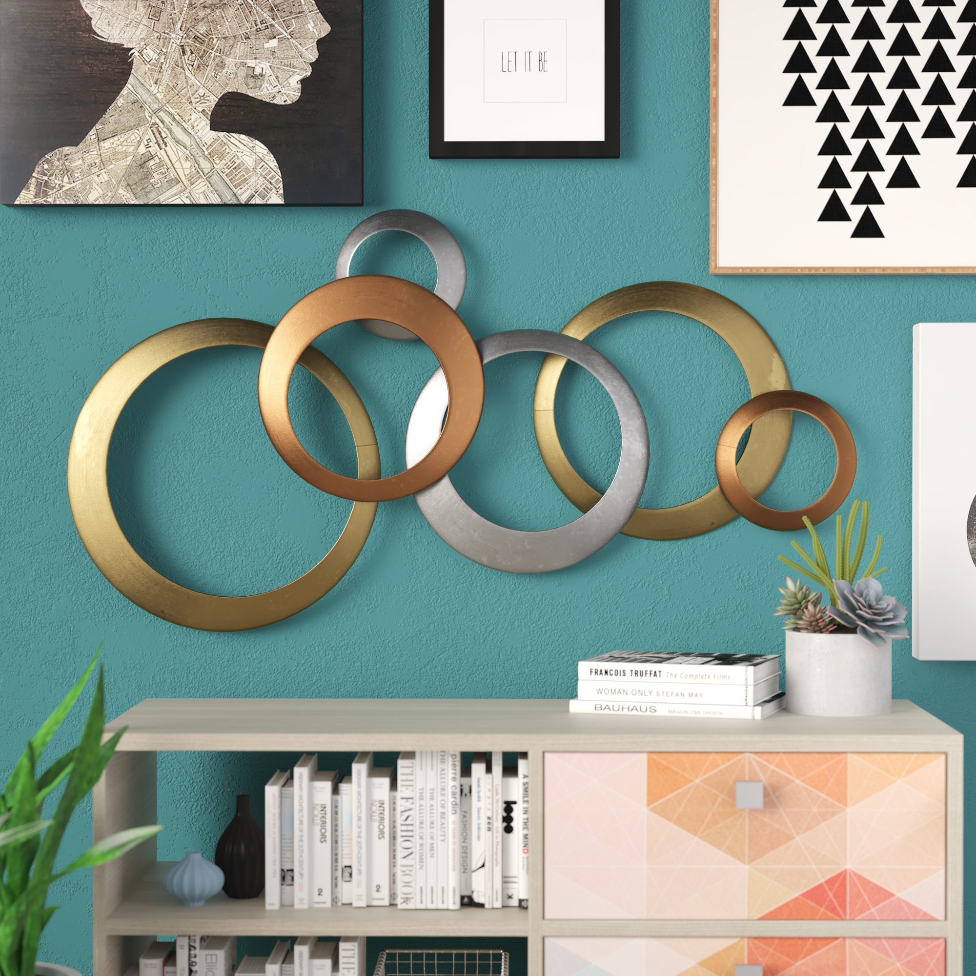 Metal Rings Wall Art | Wayfair Inside Rings Wall Decor (View 7 of 30)